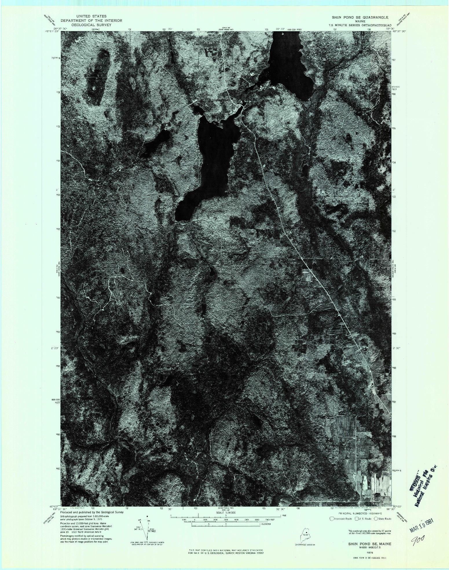 USGS 1:24000-SCALE QUADRANGLE FOR SHIN POND SE, ME 1975