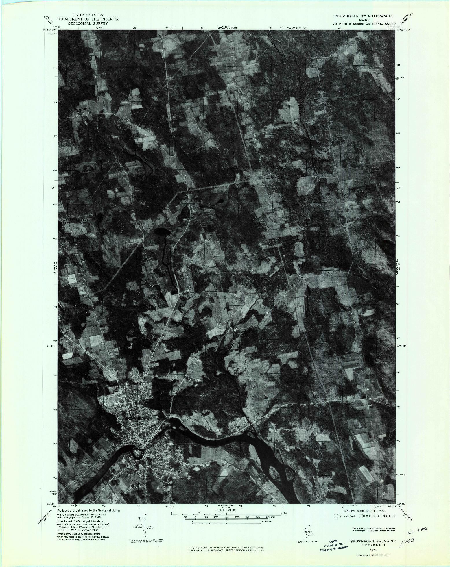 USGS 1:24000-SCALE QUADRANGLE FOR SKOWHEGAN SW, ME 1975