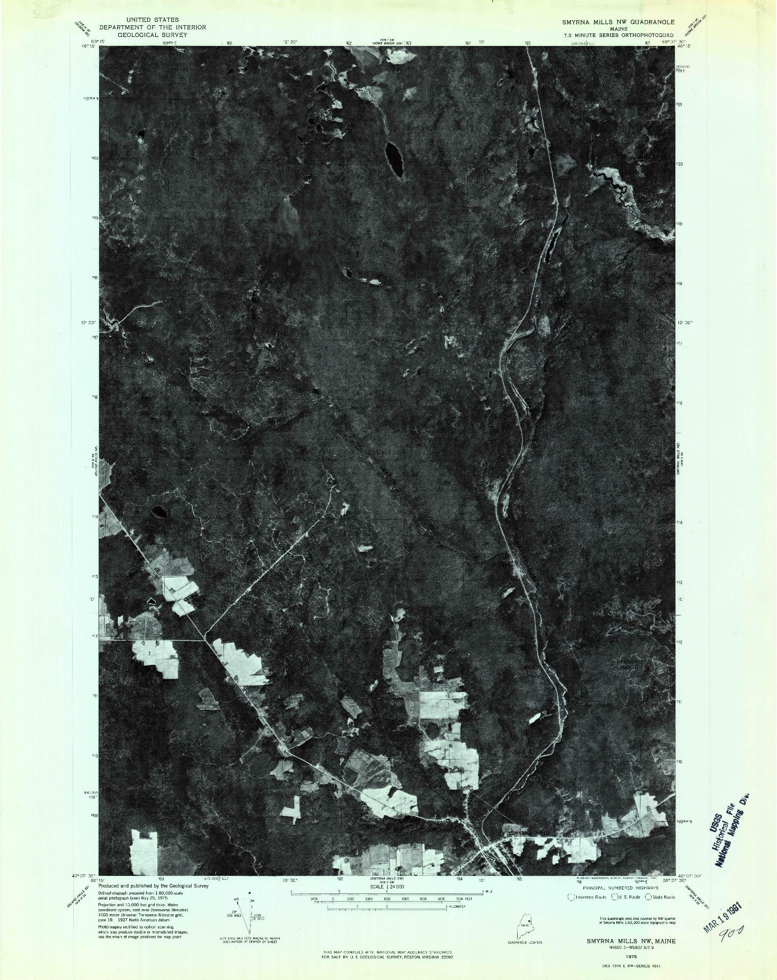 USGS 1:24000-SCALE QUADRANGLE FOR SMYRNA MILLS NW, ME 1975