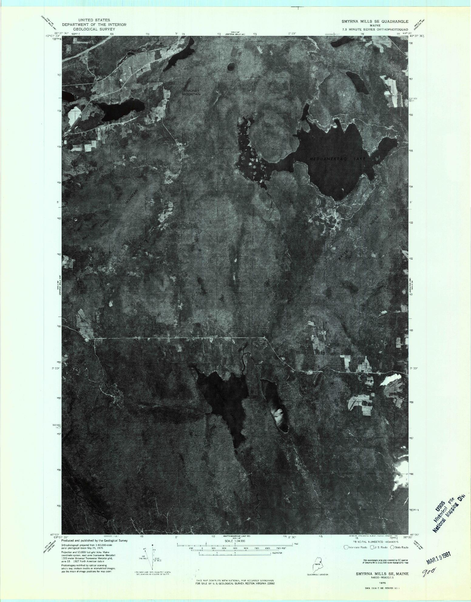 USGS 1:24000-SCALE QUADRANGLE FOR SMYRNA MILLS SE, ME 1975