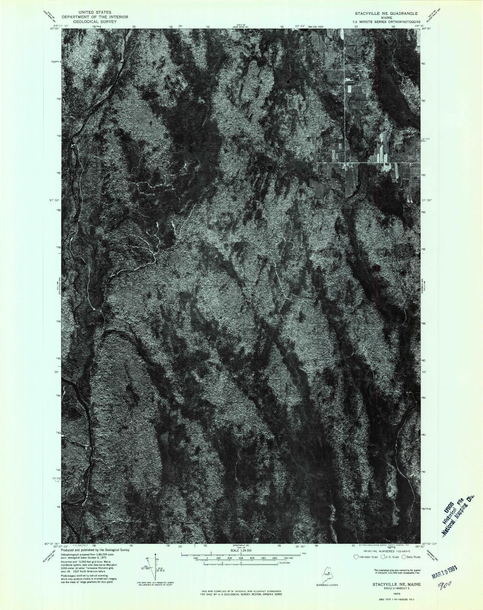 USGS 1:24000-SCALE QUADRANGLE FOR STACYVILLE NE, ME 1975