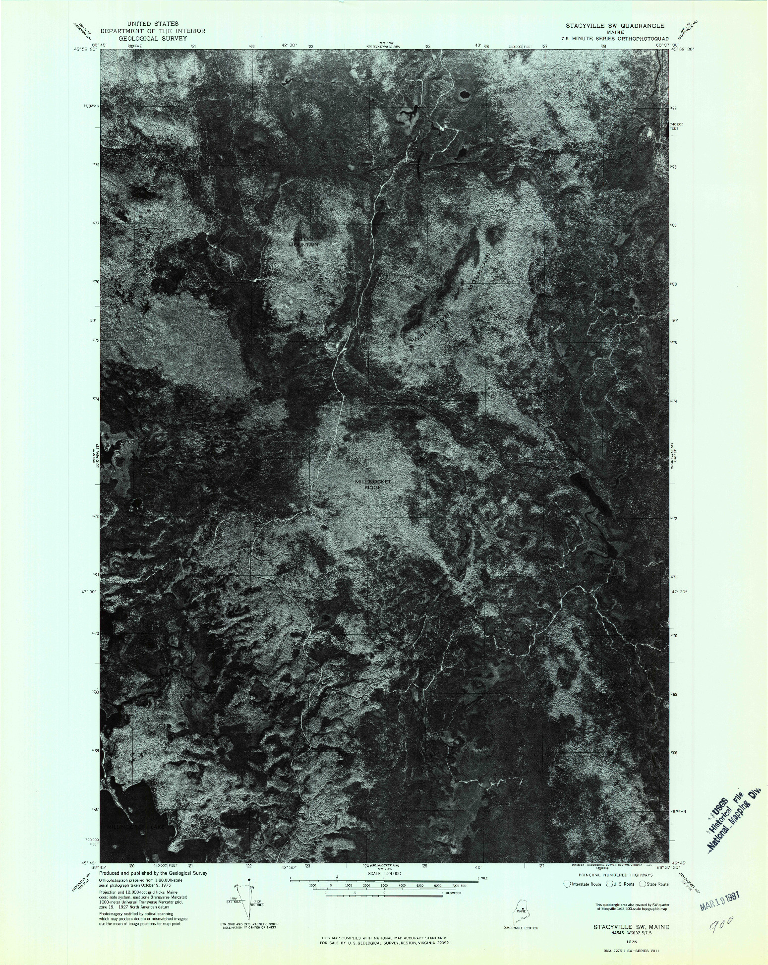 USGS 1:24000-SCALE QUADRANGLE FOR STACYVILLE SW, ME 1975