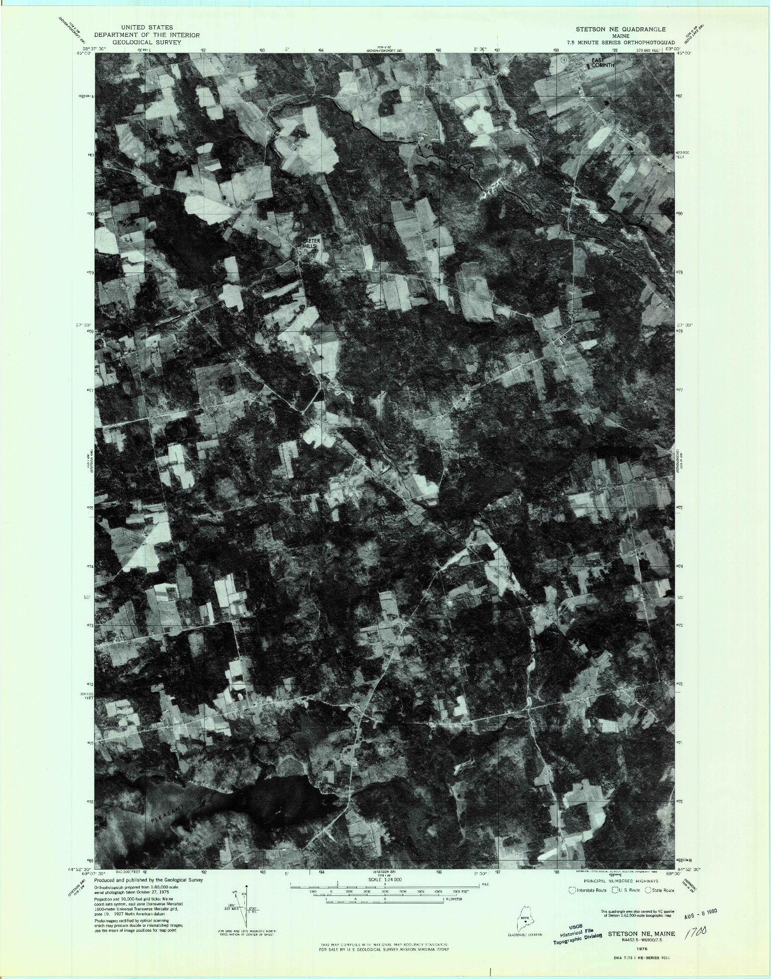 USGS 1:24000-SCALE QUADRANGLE FOR STETSON NE, ME 1975