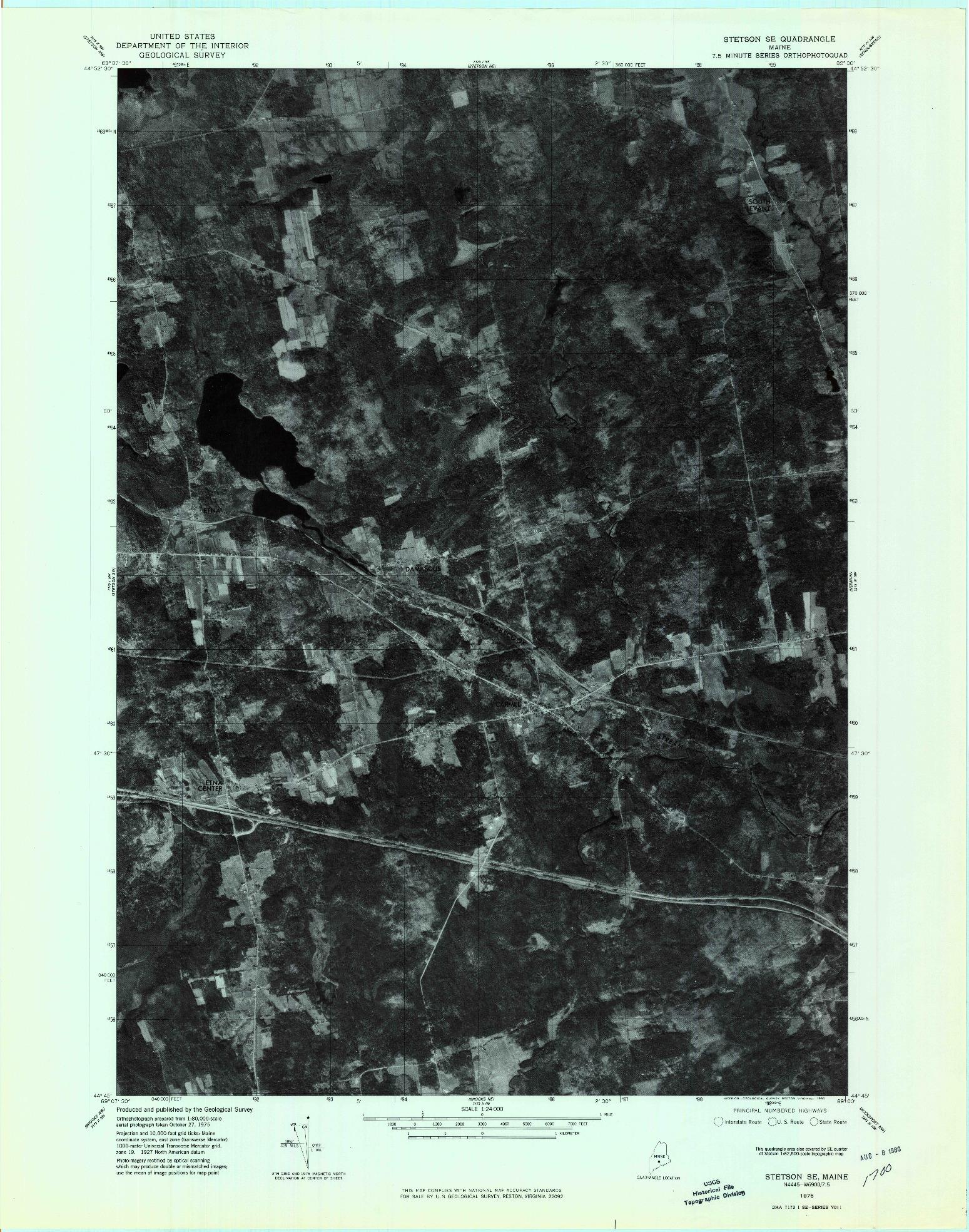 USGS 1:24000-SCALE QUADRANGLE FOR STETSON SE, ME 1976