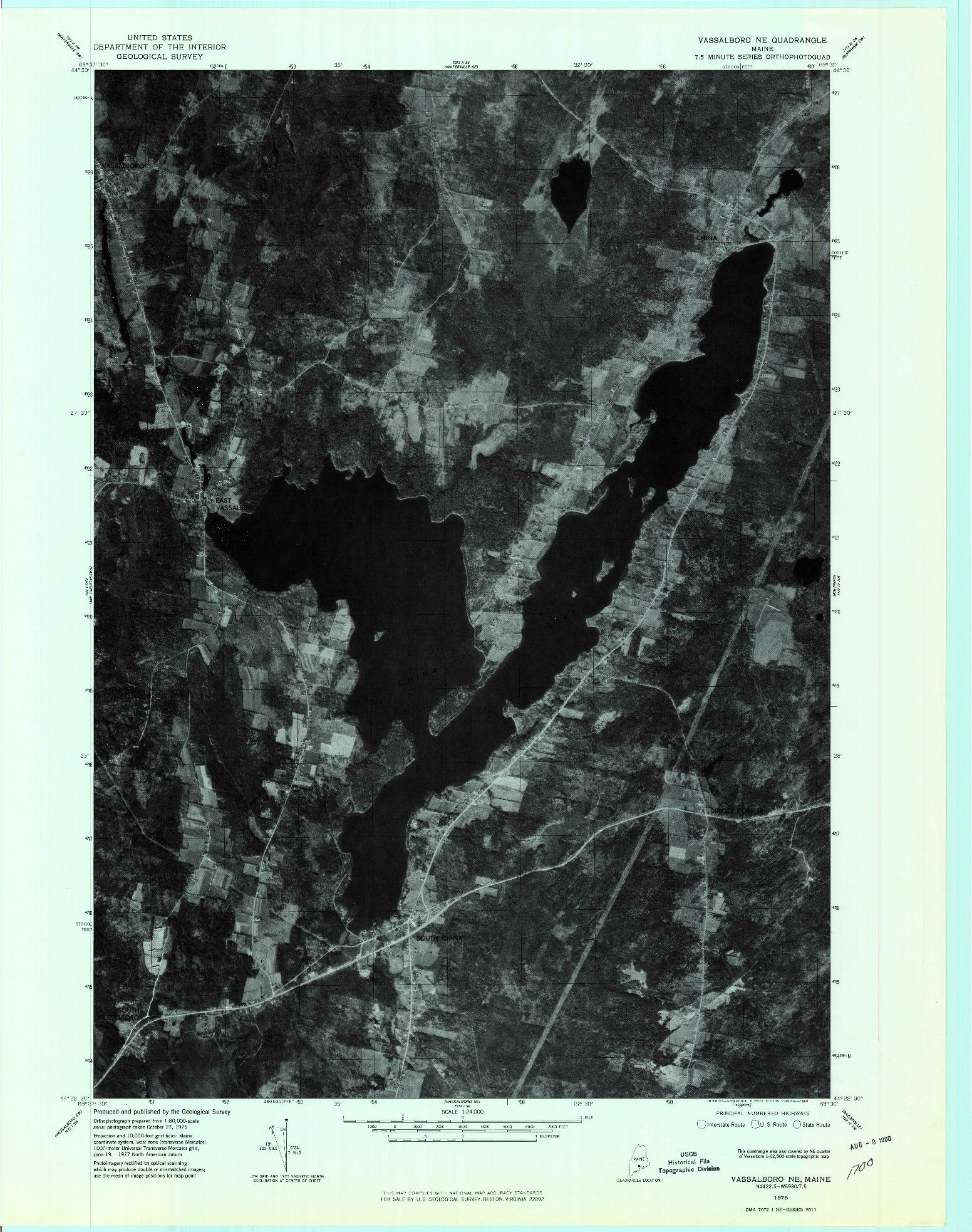 USGS 1:24000-SCALE QUADRANGLE FOR VASSALBORO NE, ME 1975