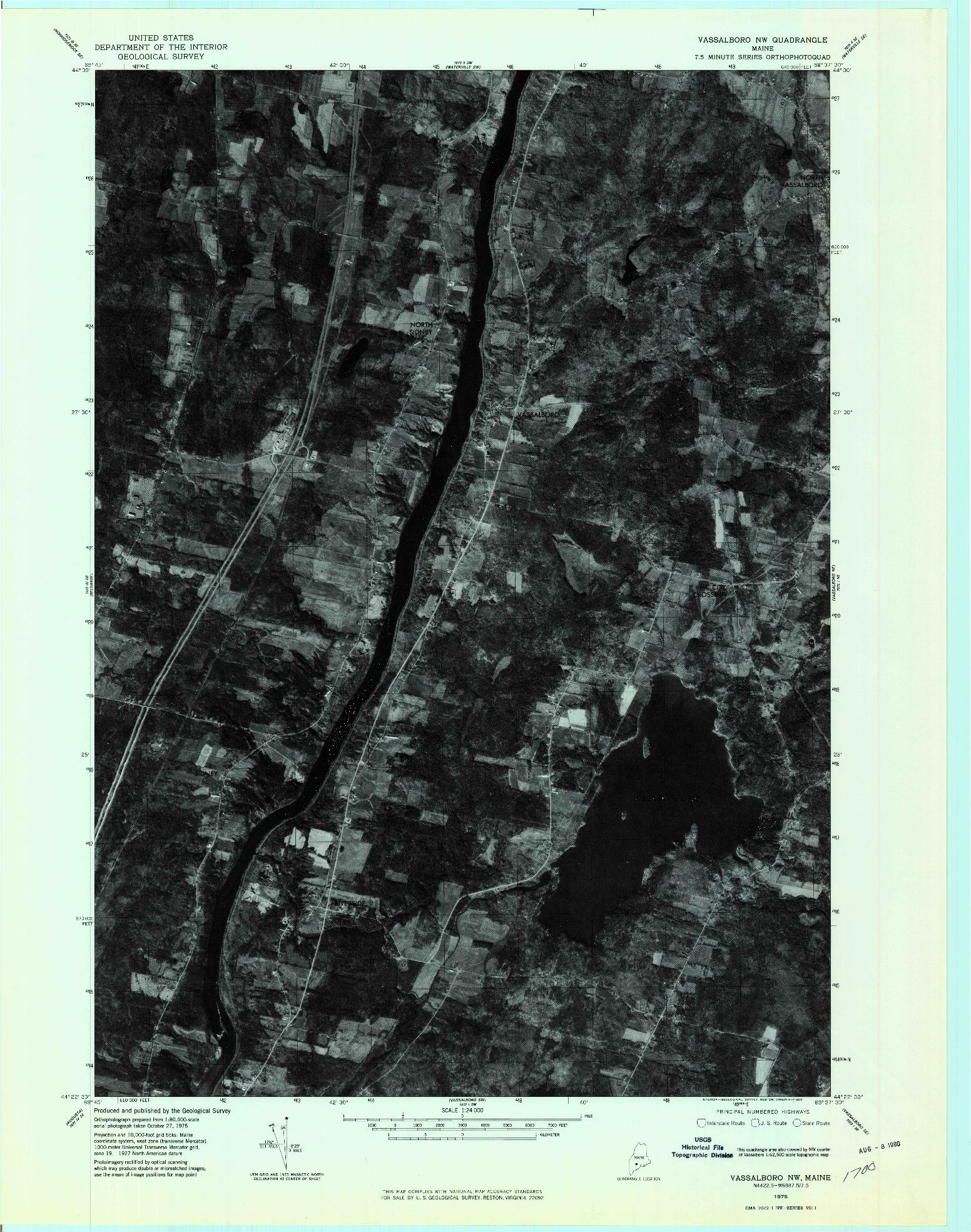 USGS 1:24000-SCALE QUADRANGLE FOR VASSALBORO NW, ME 1975