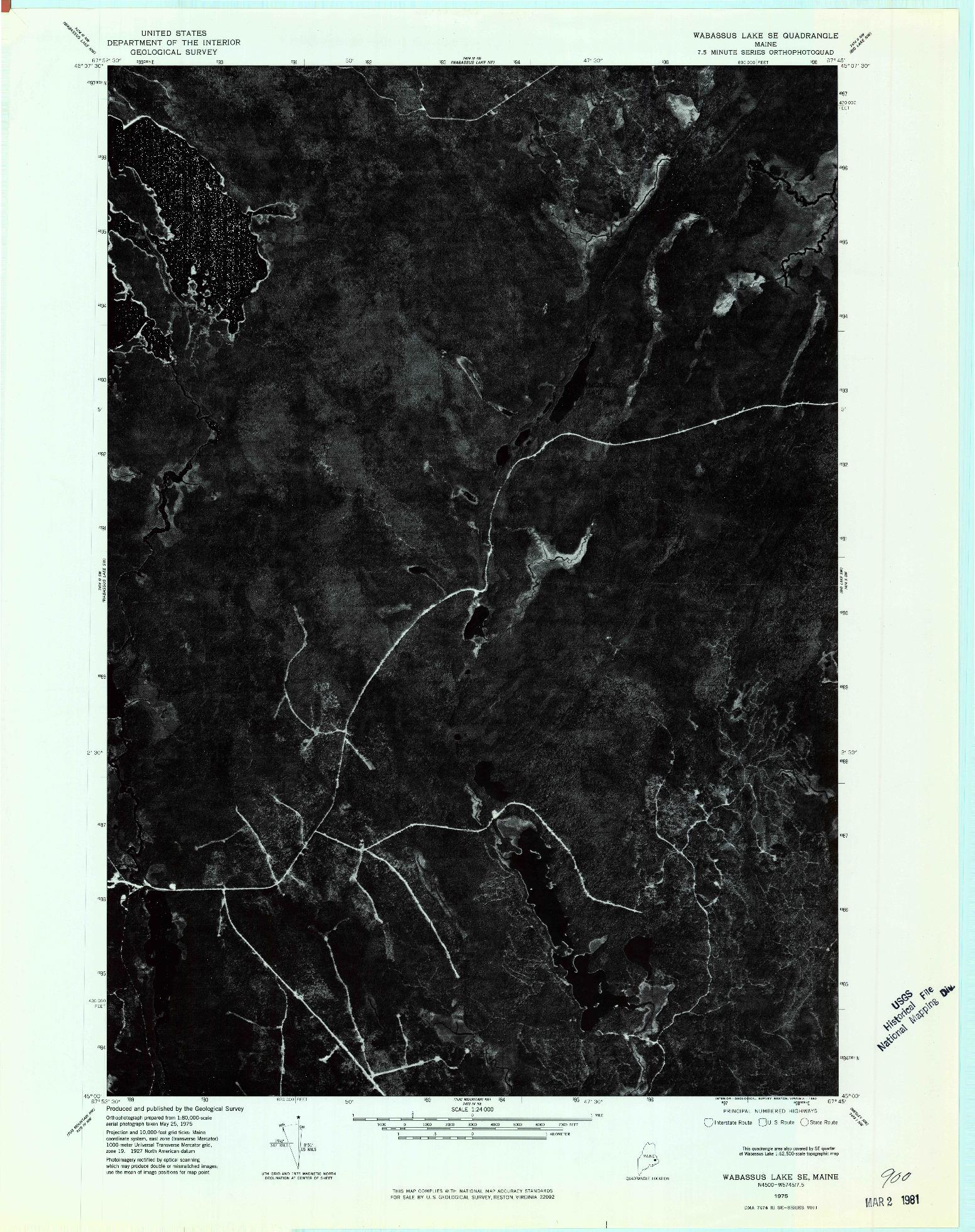 USGS 1:24000-SCALE QUADRANGLE FOR WABASSUS LAKE SE, ME 1975