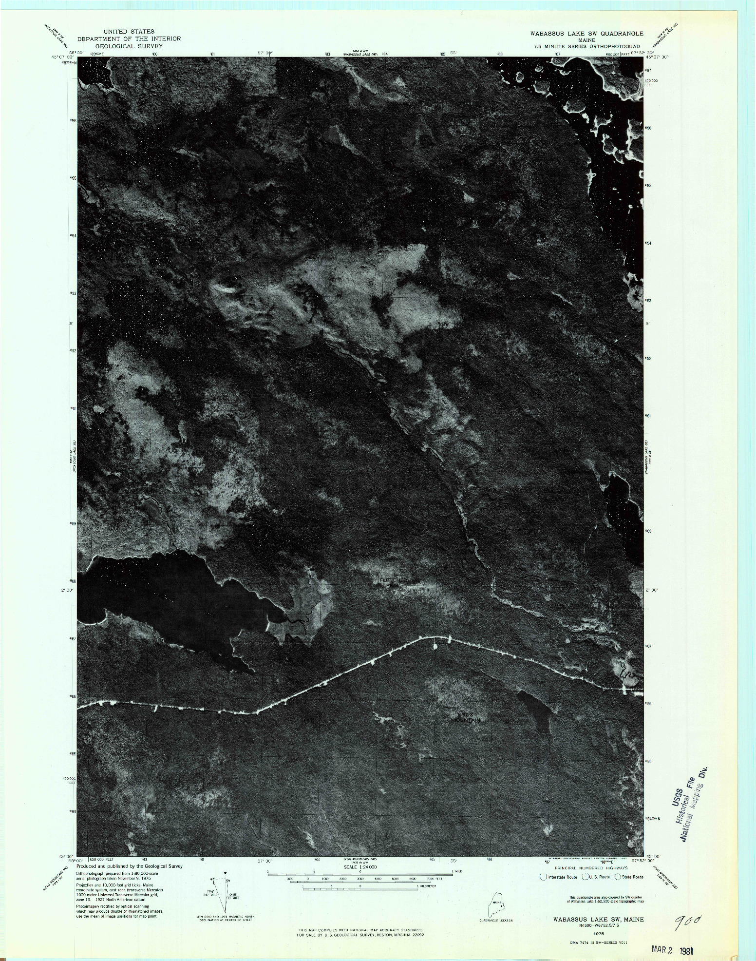 USGS 1:24000-SCALE QUADRANGLE FOR WABASSUS LAKE SW, ME 1975