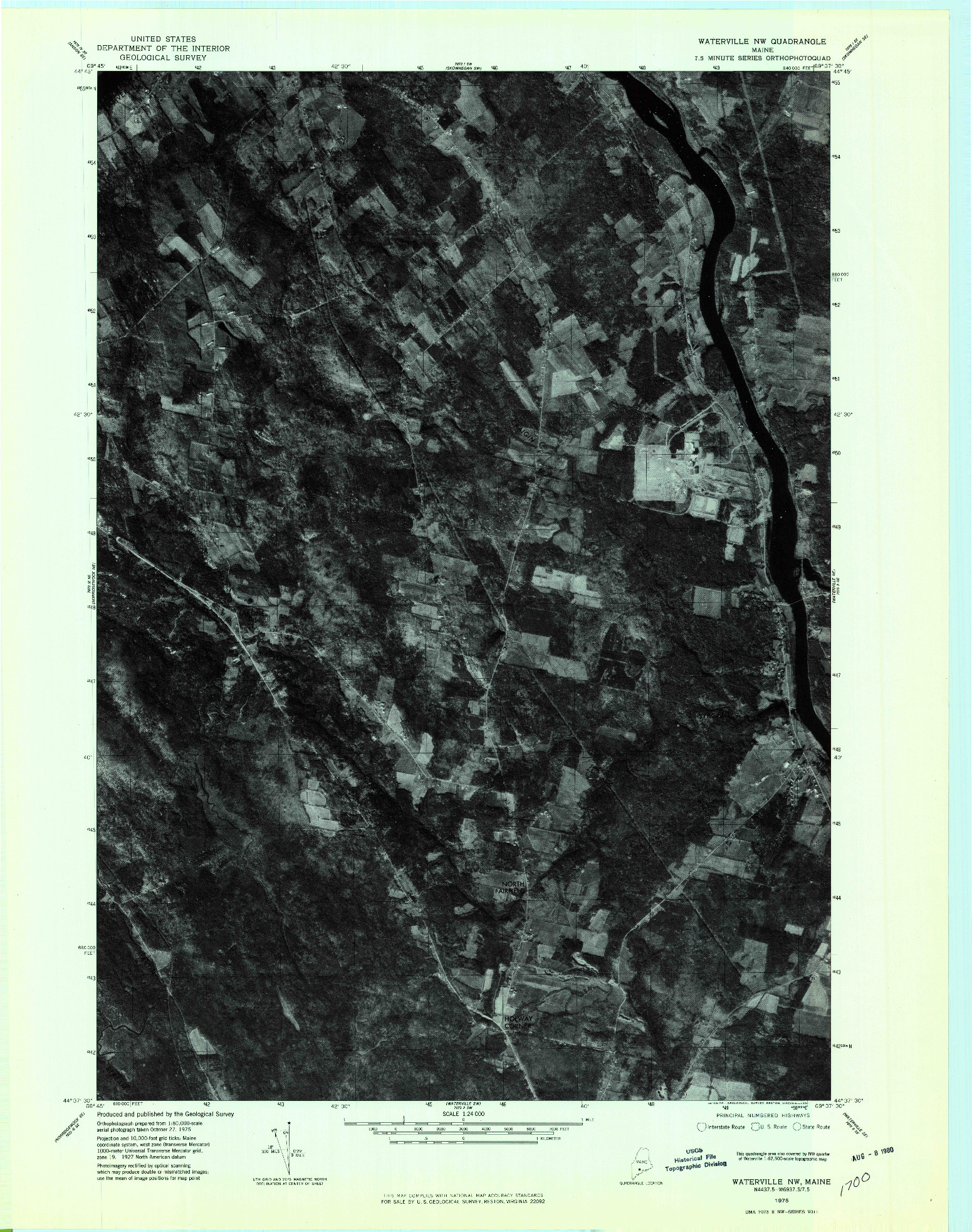 USGS 1:24000-SCALE QUADRANGLE FOR WATERVILLE NW, ME 1975