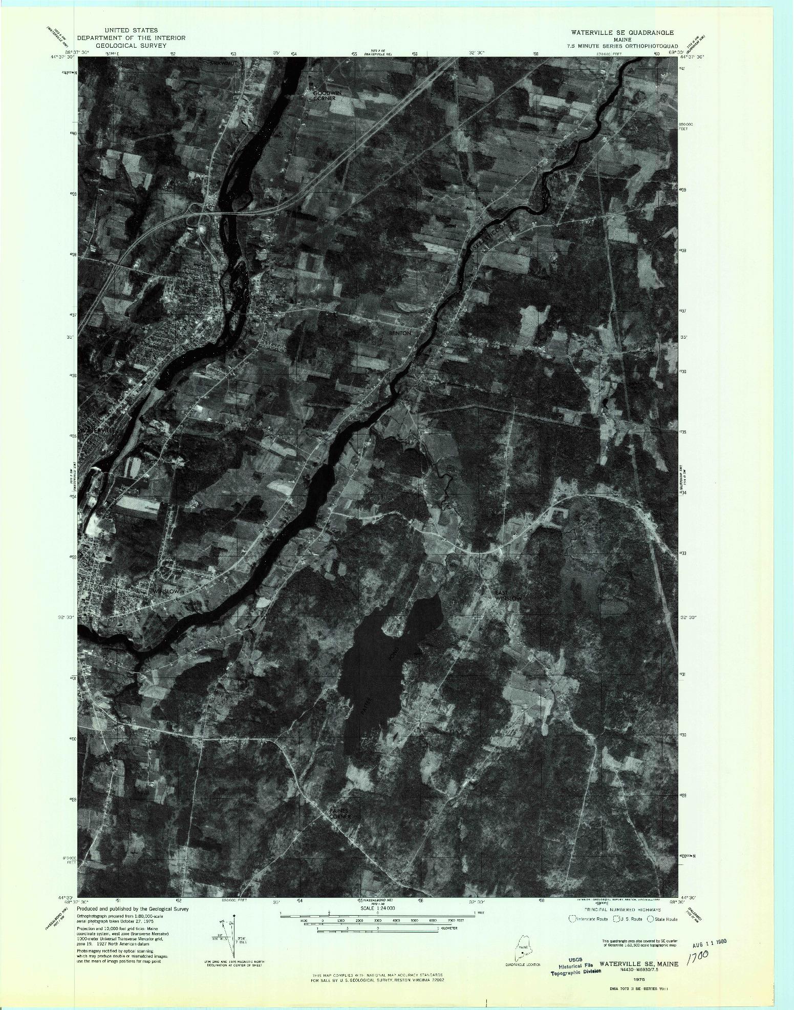 USGS 1:24000-SCALE QUADRANGLE FOR WATERVILLE SE, ME 1975