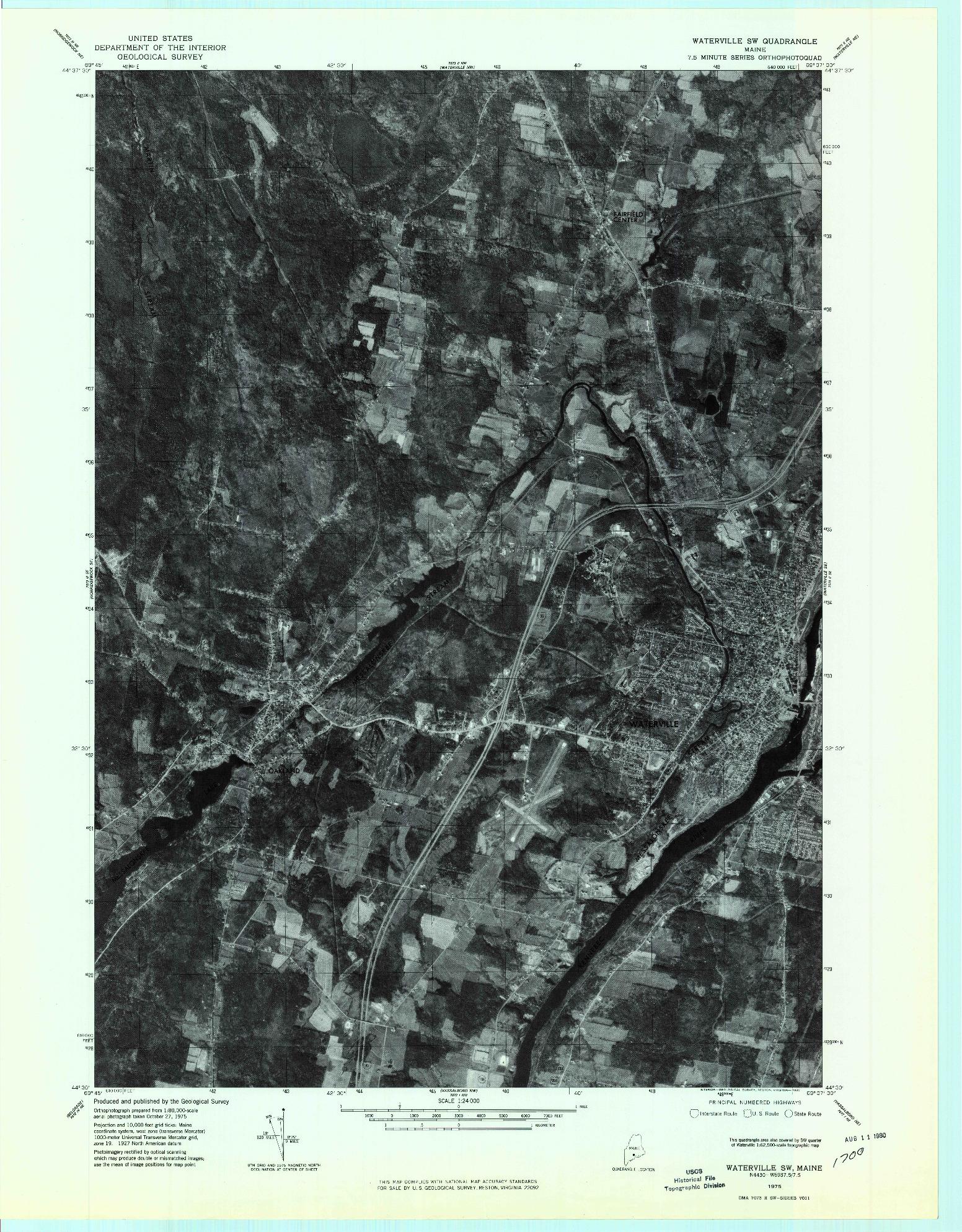 USGS 1:24000-SCALE QUADRANGLE FOR WATERVILLE SW, ME 1975