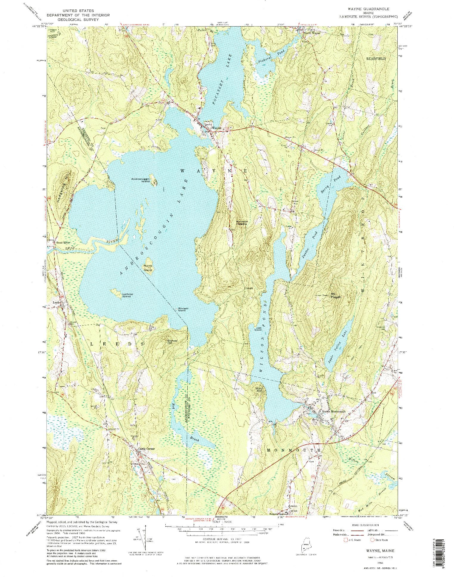 USGS 1:24000-SCALE QUADRANGLE FOR WAYNE, ME 1966
