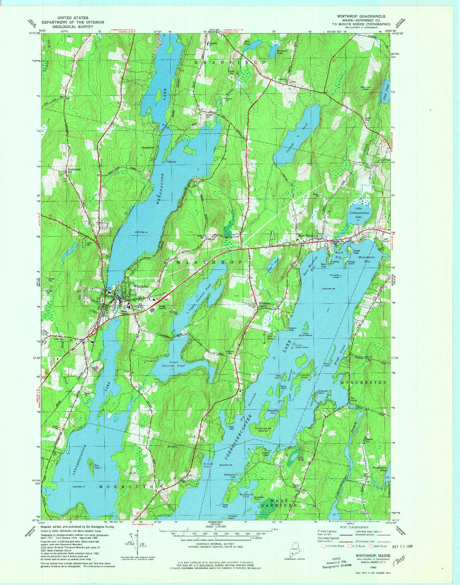 USGS 1:24000-SCALE QUADRANGLE FOR WINTHROP, ME 1980