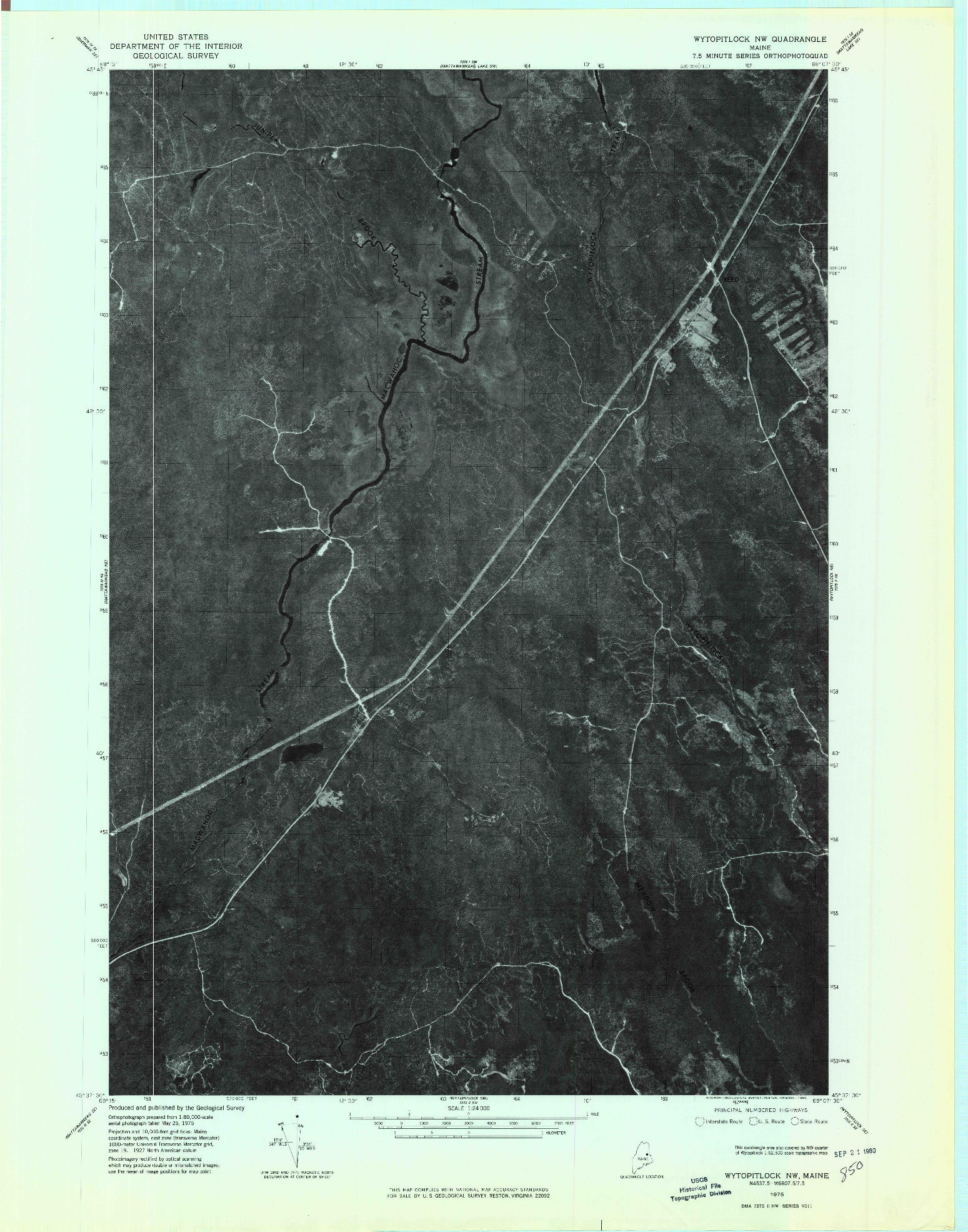 USGS 1:24000-SCALE QUADRANGLE FOR WYTOPITLOCK NW, ME 1975