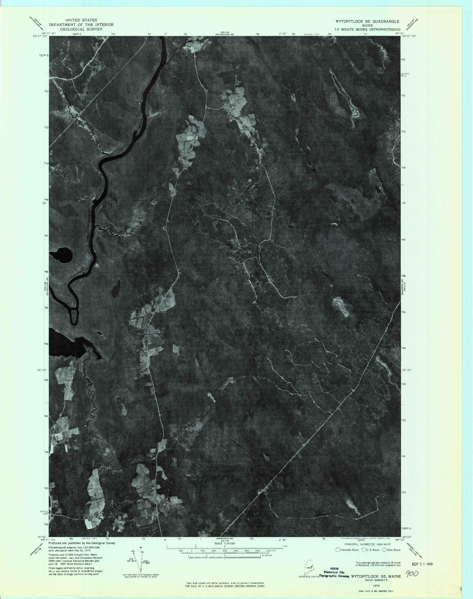 USGS 1:24000-SCALE QUADRANGLE FOR WYTOPITLOCK SE, ME 1975