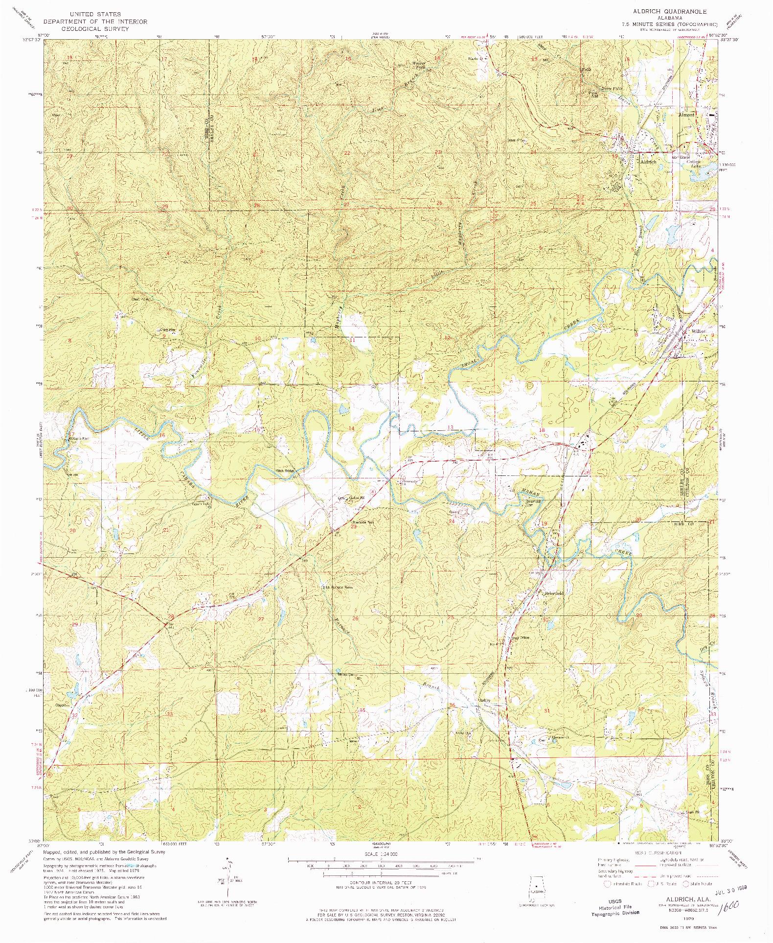 USGS 1:24000-SCALE QUADRANGLE FOR ALDRICH, AL 1979