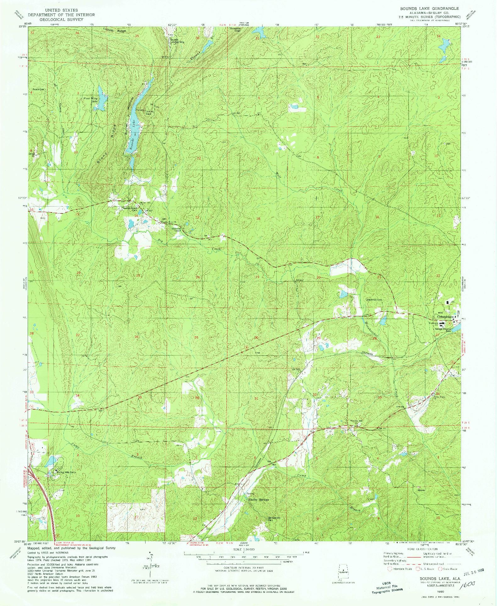 USGS 1:24000-SCALE QUADRANGLE FOR BOUNDS LAKE, AL 1980