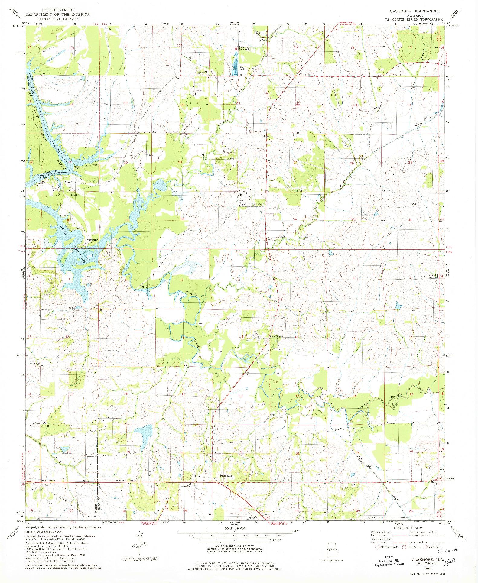 USGS 1:24000-SCALE QUADRANGLE FOR CASEMORE, AL 1980