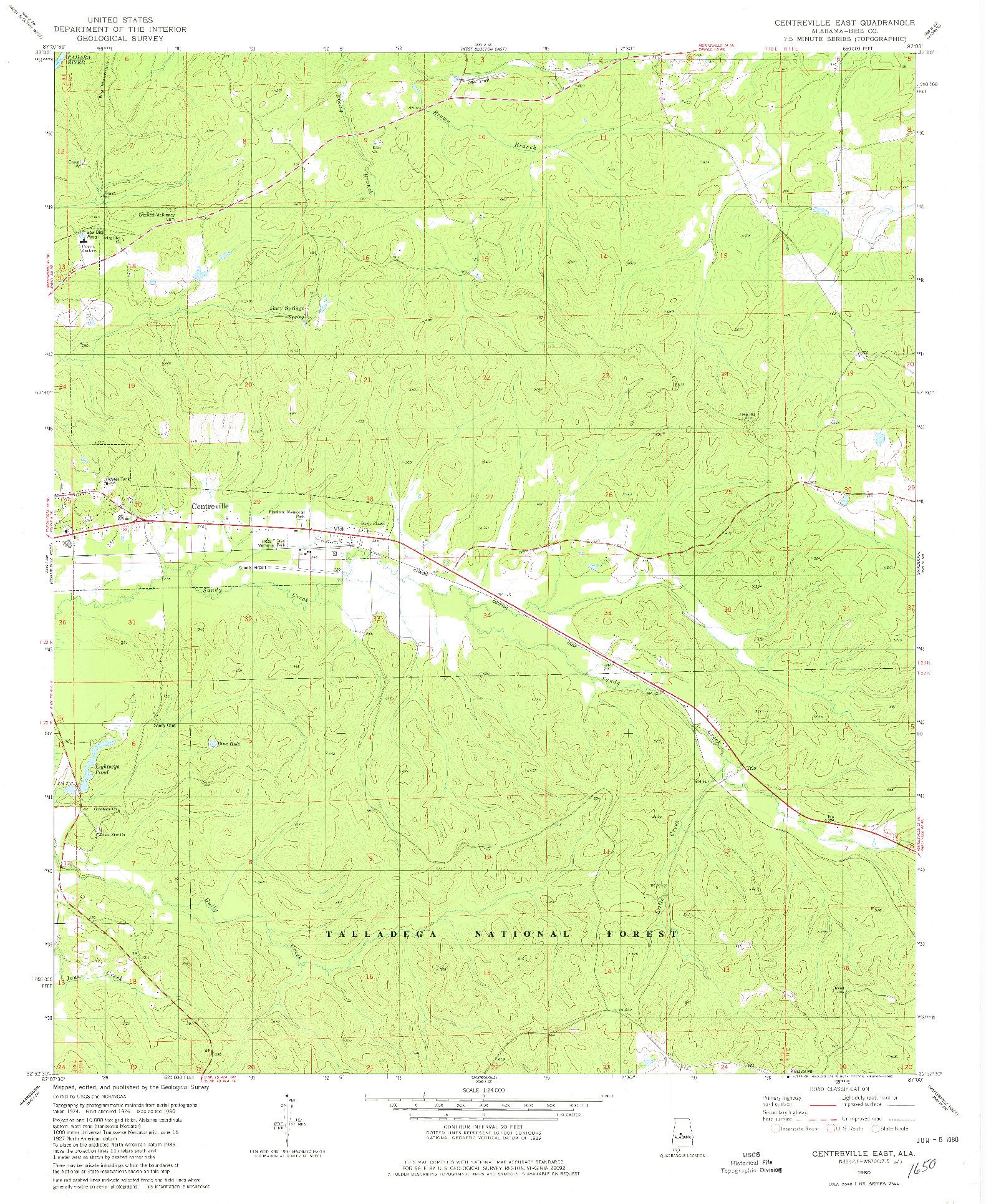 USGS 1:24000-SCALE QUADRANGLE FOR CENTREVILLE EAST, AL 1980