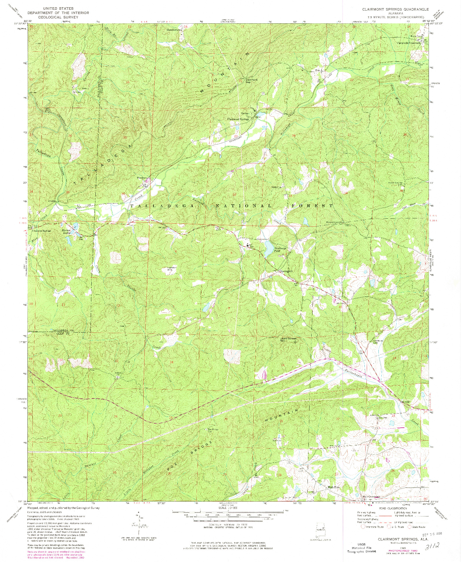 USGS 1:24000-SCALE QUADRANGLE FOR CLAIRMONT SPRINGS, AL 1969