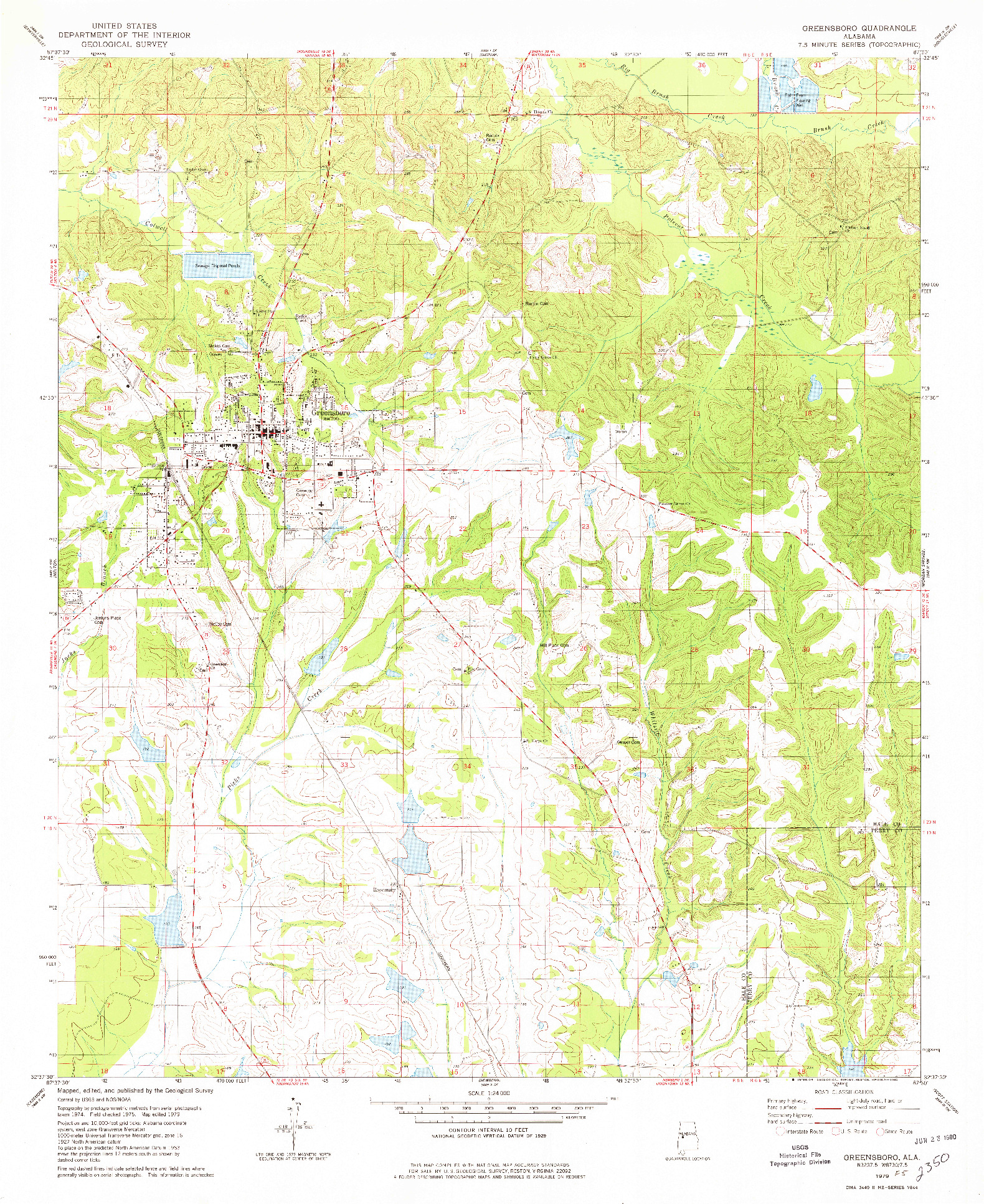 USGS 1:24000-SCALE QUADRANGLE FOR GREENSBORO, AL 1979