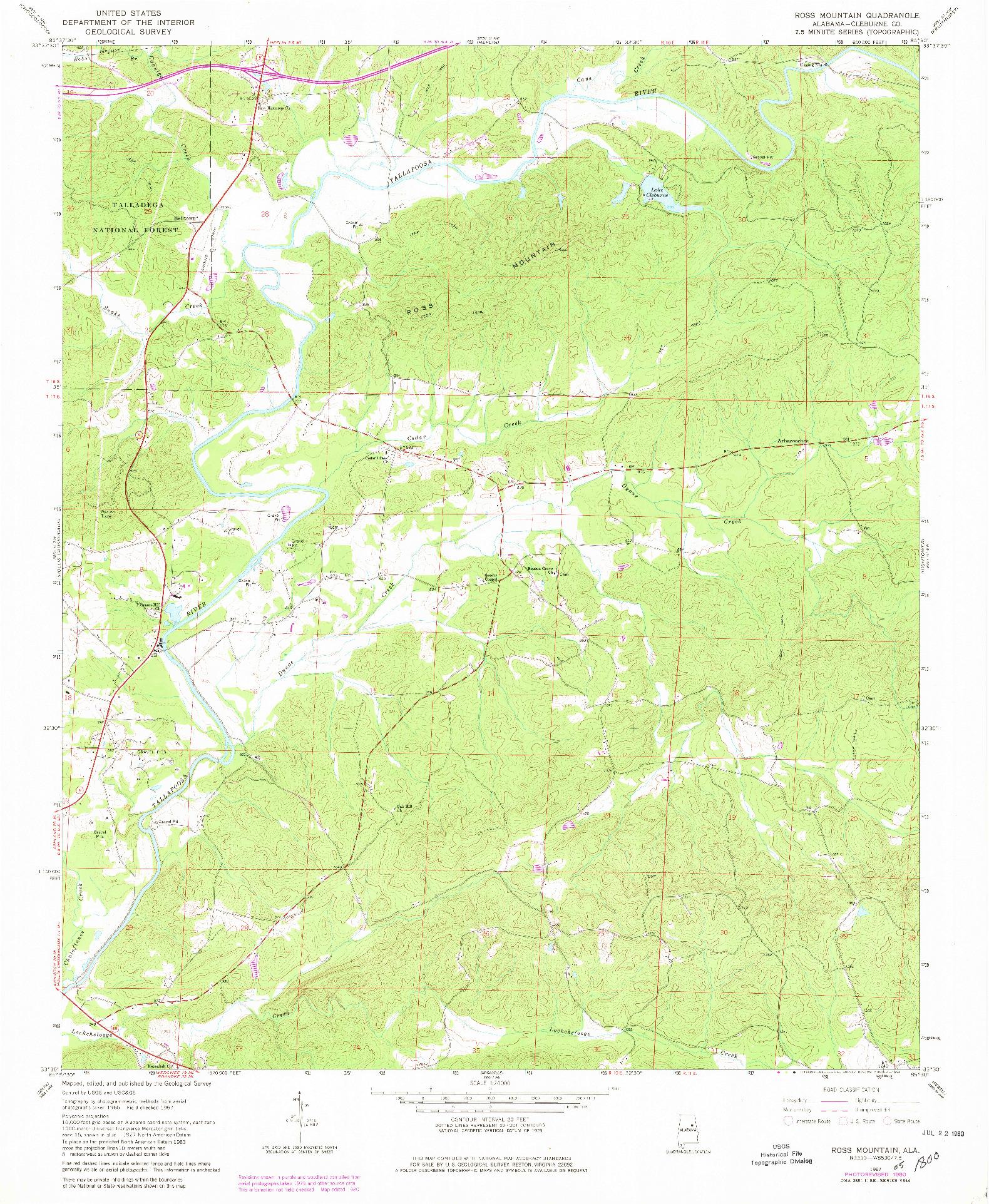 USGS 1:24000-SCALE QUADRANGLE FOR ROSS MOUNTAIN, AL 1967