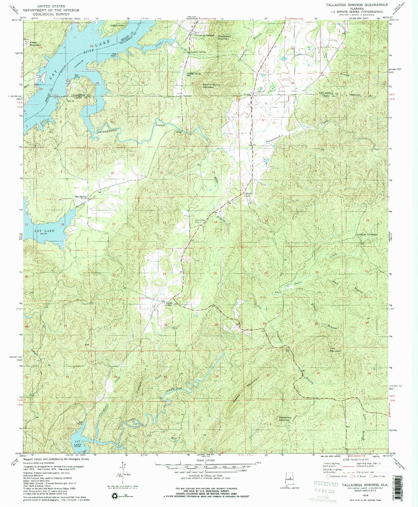 USGS 1:24000-SCALE QUADRANGLE FOR TALLADEGA SPRINGS, AL 1979