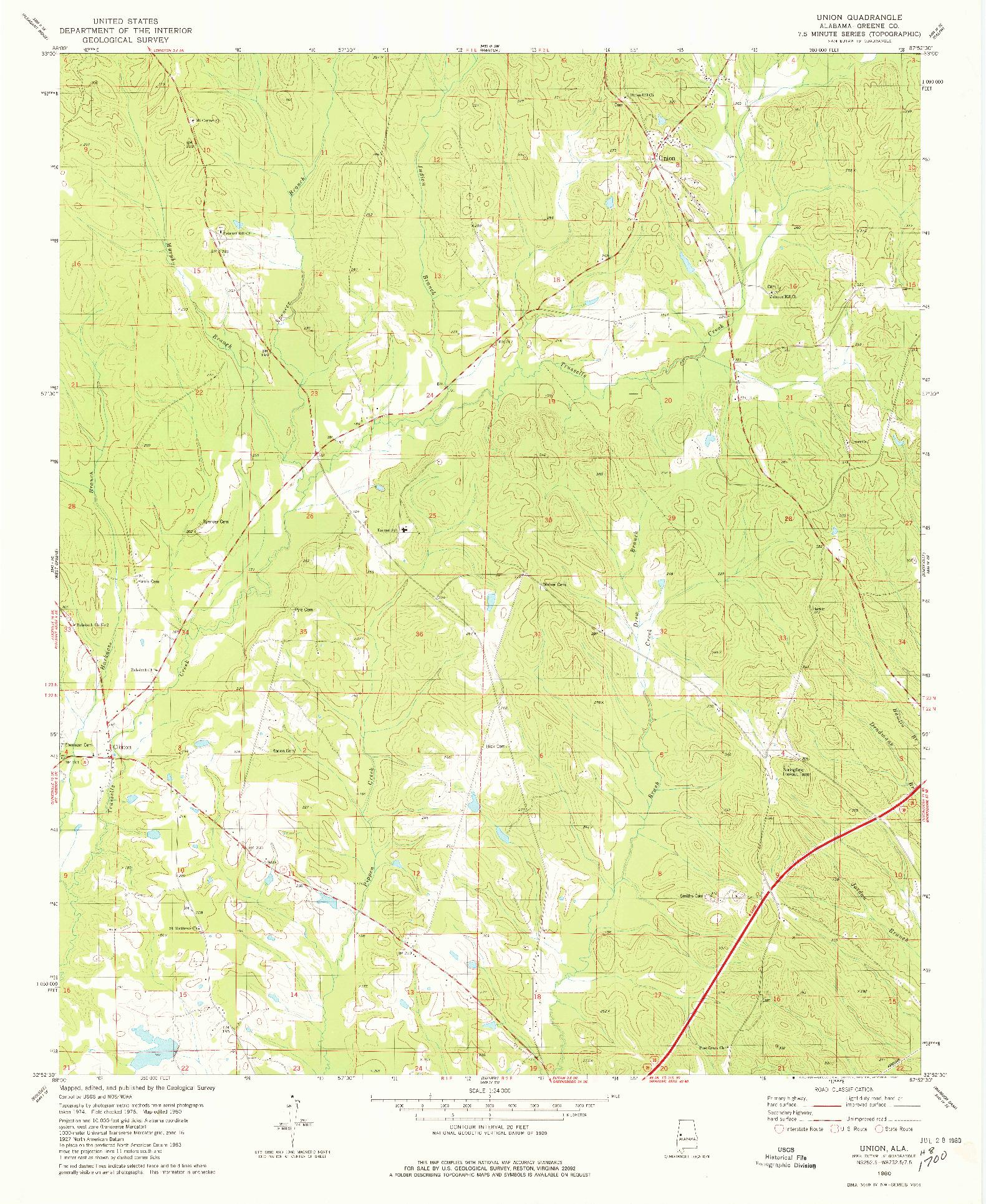 USGS 1:24000-SCALE QUADRANGLE FOR UNION, AL 1980