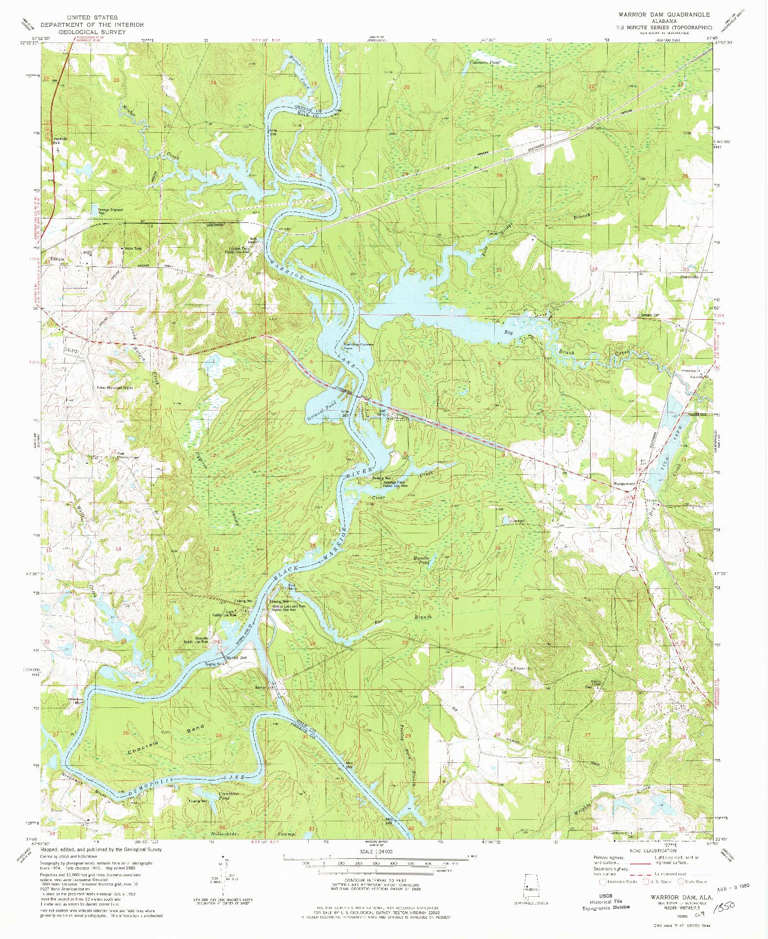 USGS 1:24000-SCALE QUADRANGLE FOR WARRIOR DAM, AL 1980
