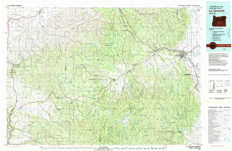 USGS 1:100000-SCALE QUADRANGLE FOR LA GRANDE, OR 1979