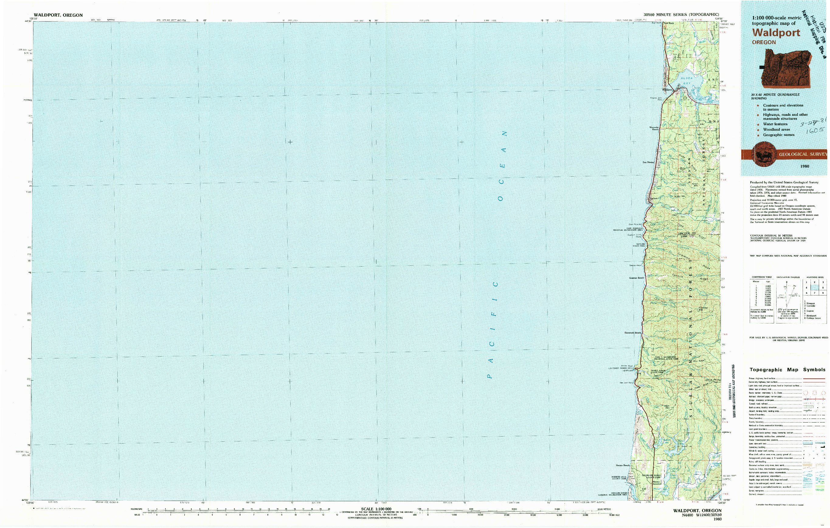 USGS 1:100000-SCALE QUADRANGLE FOR WALDPORT, OR 1980