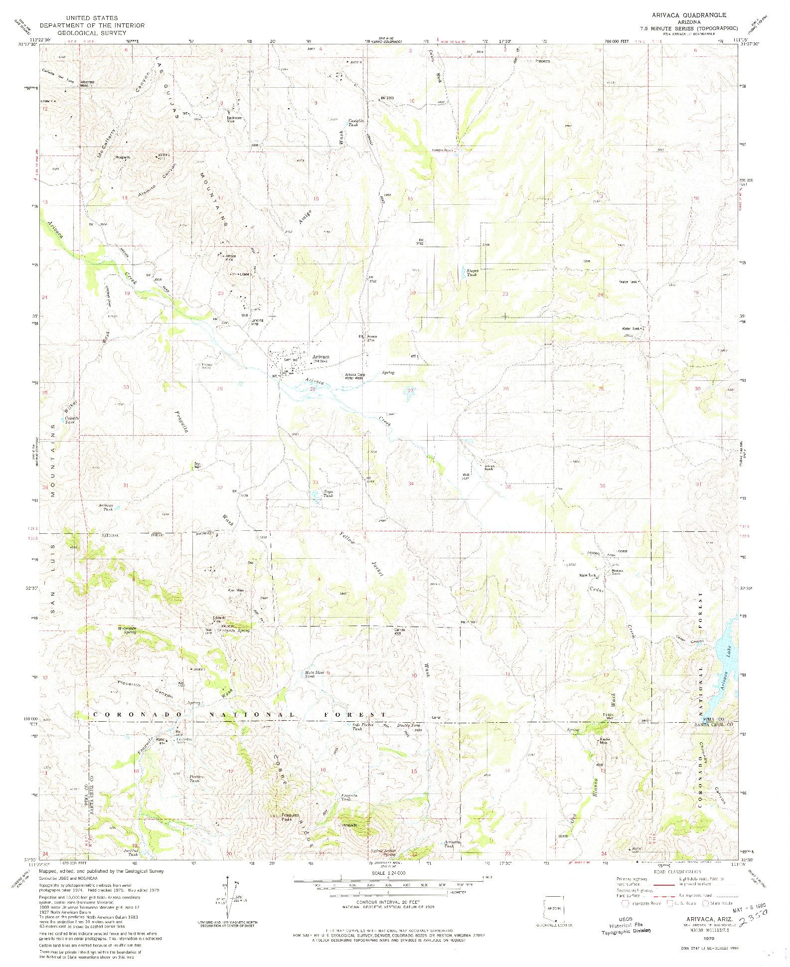 USGS 1:24000-SCALE QUADRANGLE FOR ARIVACA, AZ 1979