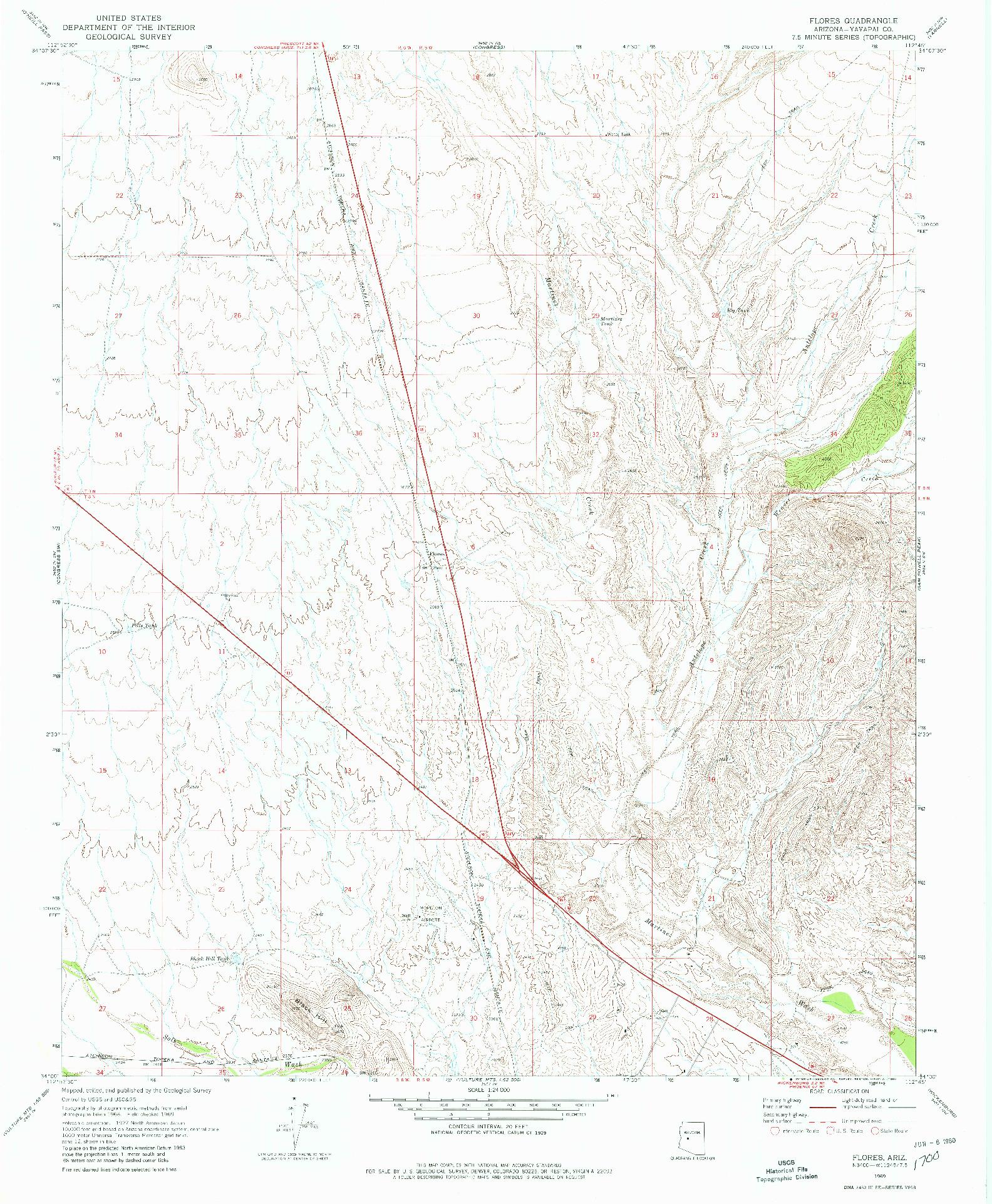 USGS 1:24000-SCALE QUADRANGLE FOR FLORES, AZ 1969