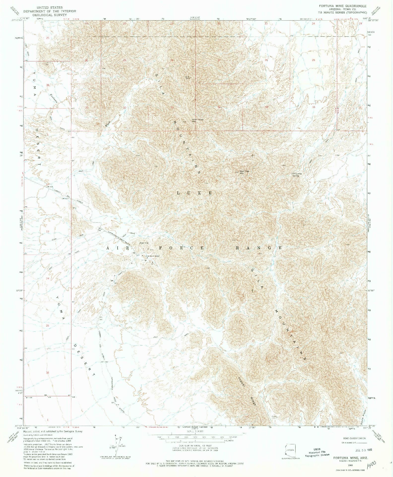 USGS 1:24000-SCALE QUADRANGLE FOR FORTUNA MINE, AZ 1965