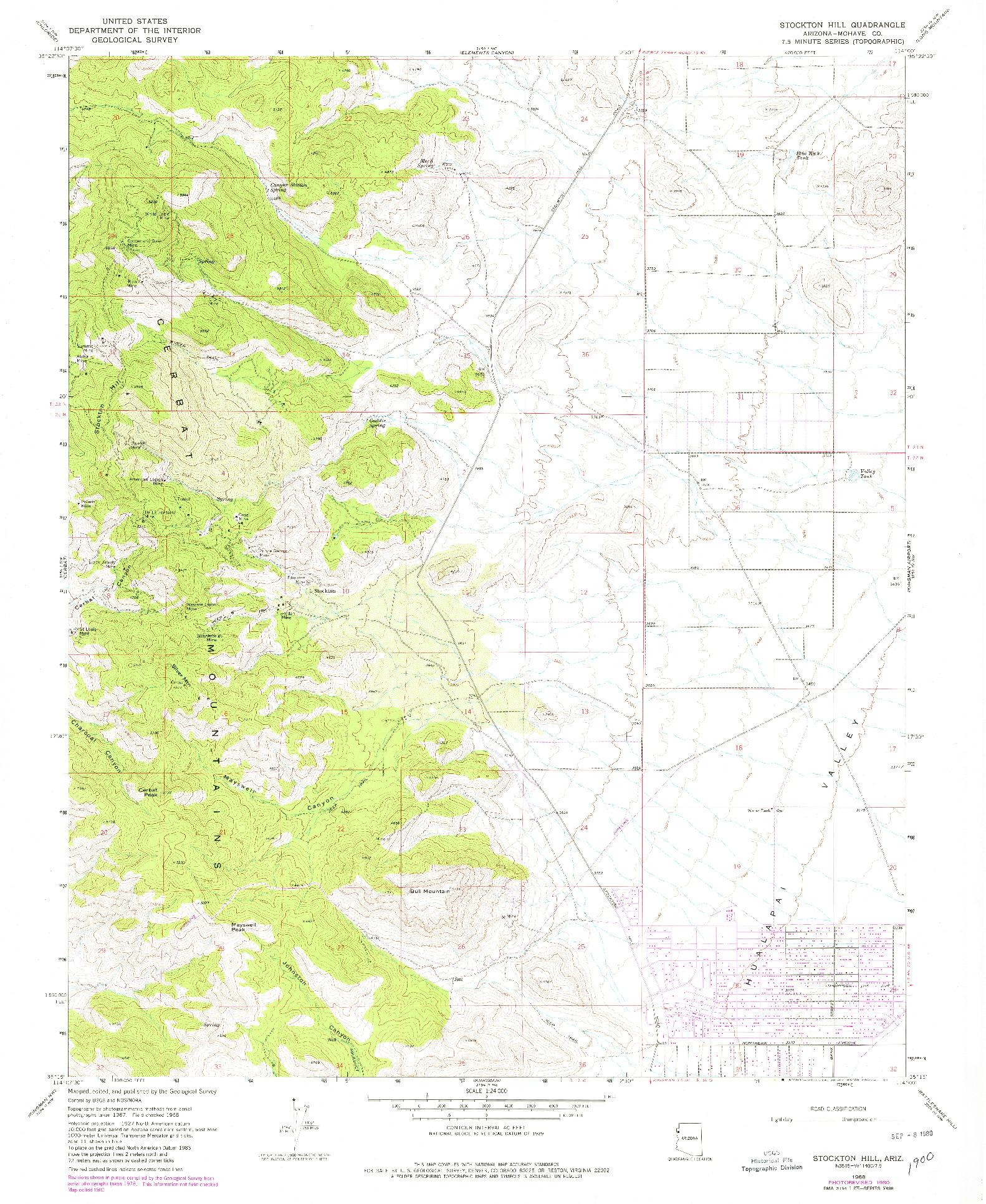 USGS 1:24000-SCALE QUADRANGLE FOR STOCKTON HILL, AZ 1968