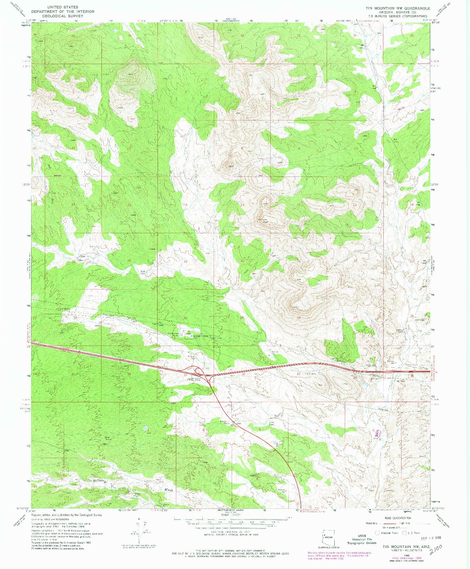 USGS 1:24000-SCALE QUADRANGLE FOR TIN MOUNTAIN NW, AZ 1968