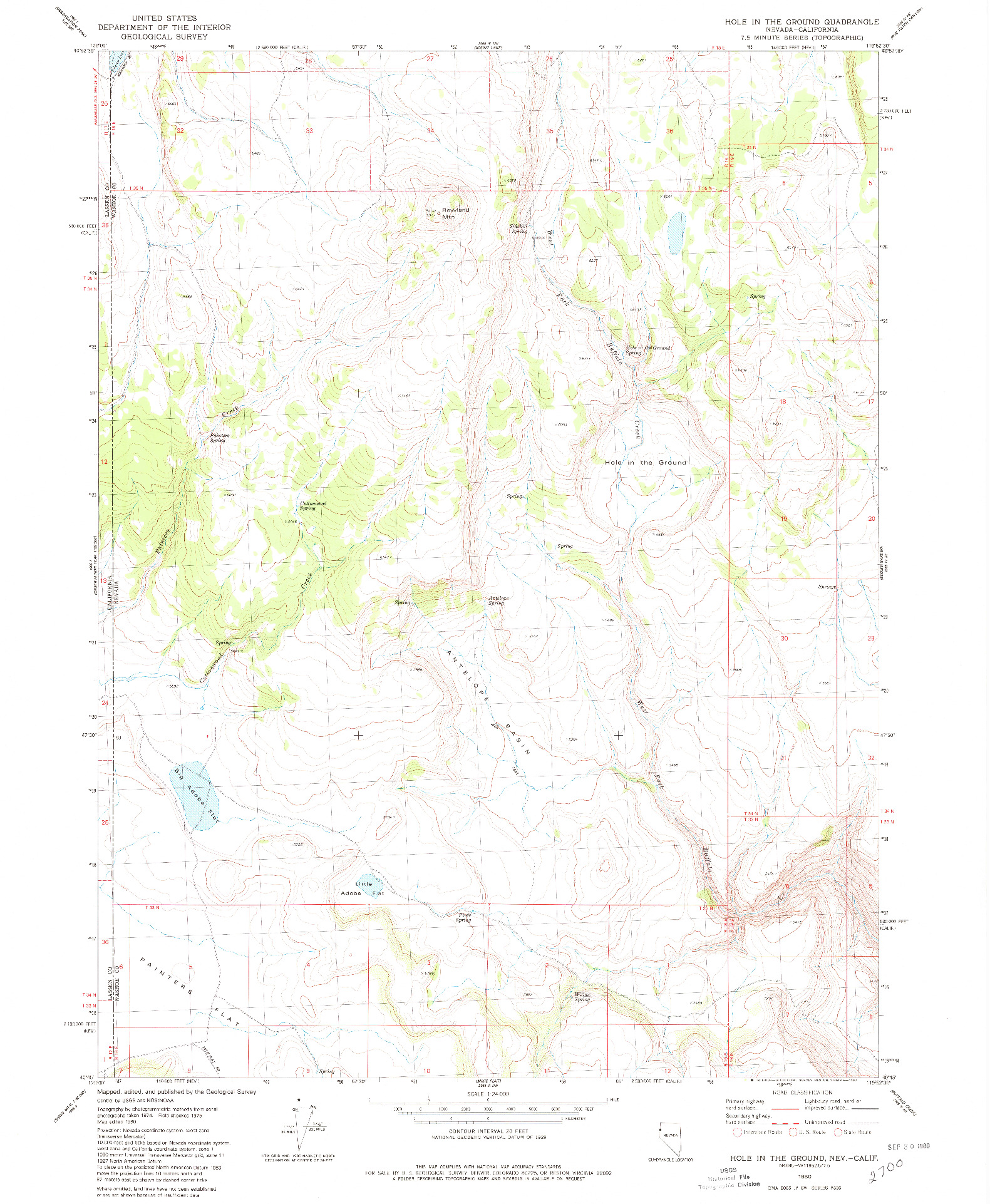 USGS 1:24000-SCALE QUADRANGLE FOR HOLE IN THE GROUND, NV 1980