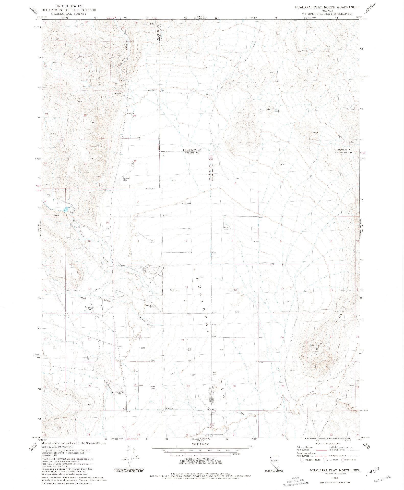 USGS 1:24000-SCALE QUADRANGLE FOR HUALAPAI FLAT NORTH, NV 1980