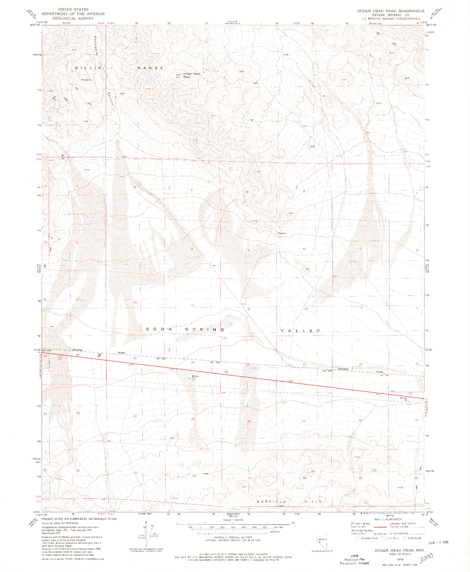 USGS 1:24000-SCALE QUADRANGLE FOR INDIAN HEAD PEAK, NV 1979