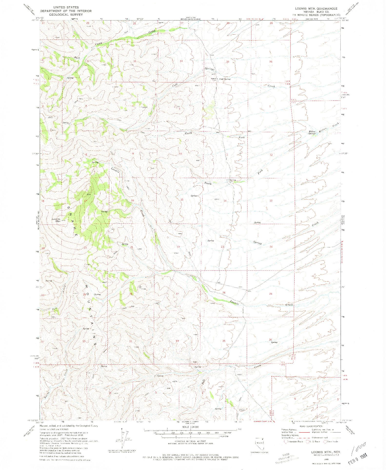 USGS 1:24000-SCALE QUADRANGLE FOR LOOMIS MTN, NV 1968