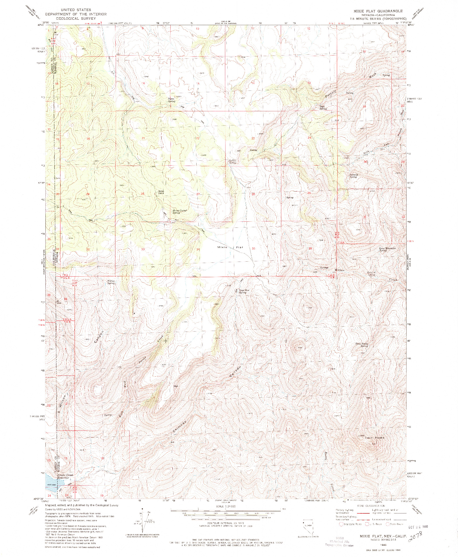 USGS 1:24000-SCALE QUADRANGLE FOR MIXIE FLAT, NV 1980