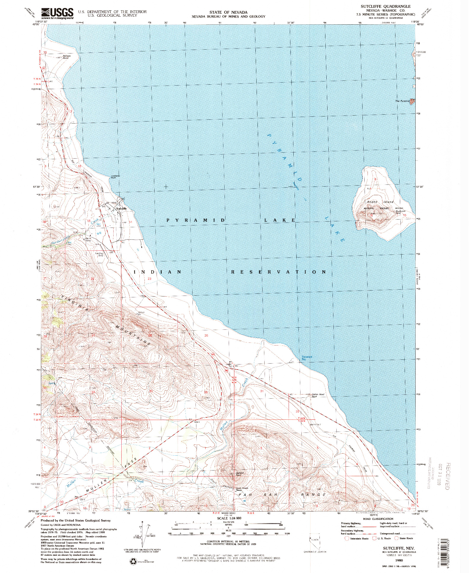 USGS 1:24000-SCALE QUADRANGLE FOR SUTCLIFFE, NV 1980