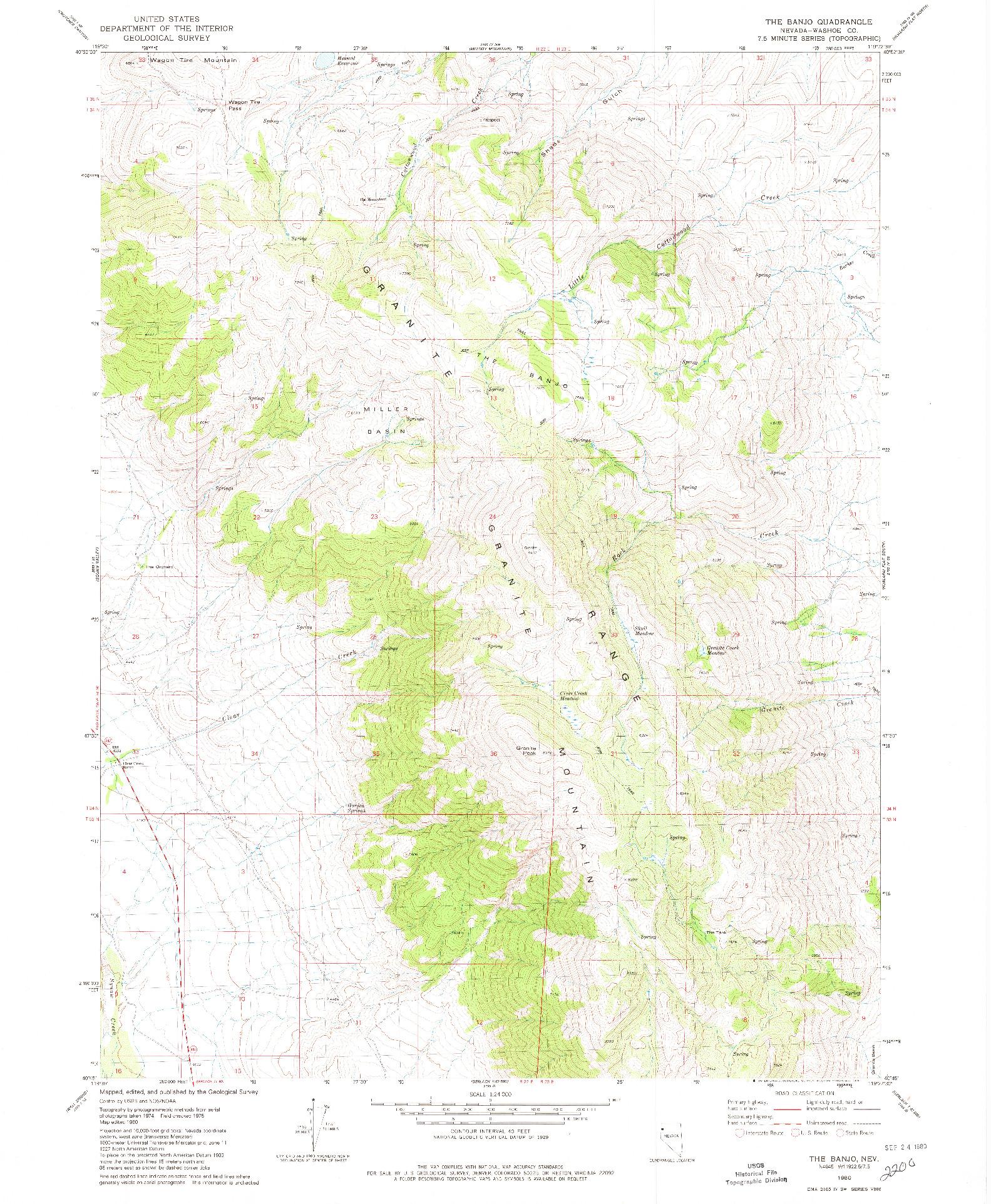 USGS 1:24000-SCALE QUADRANGLE FOR THE BANJO, NV 1980