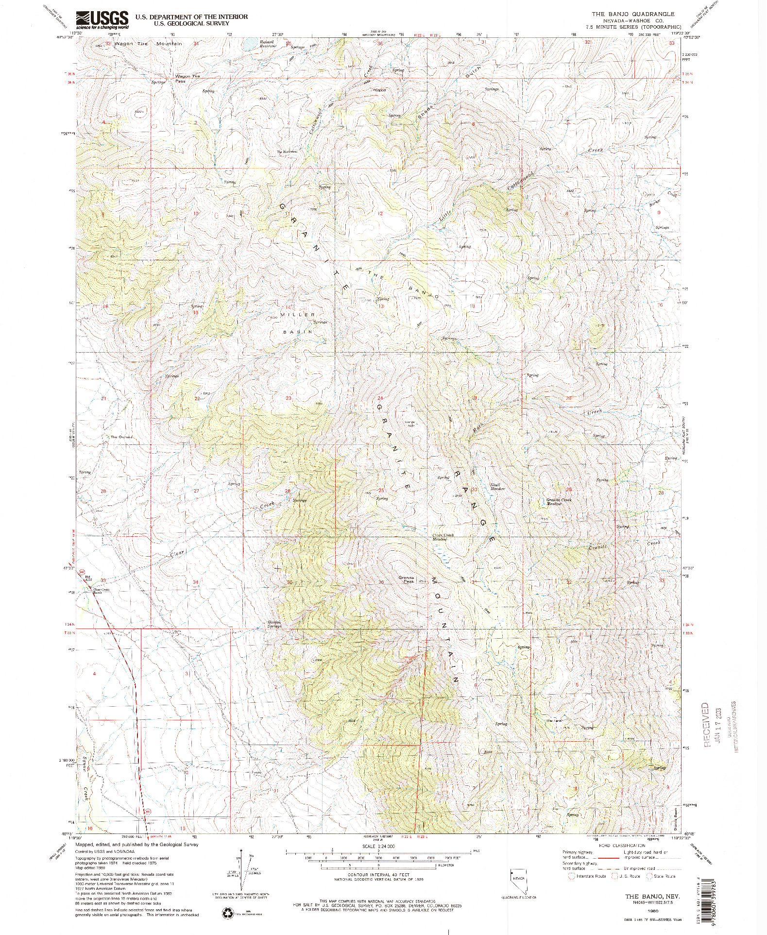 USGS 1:24000-SCALE QUADRANGLE FOR THE BANJO, NV 1980