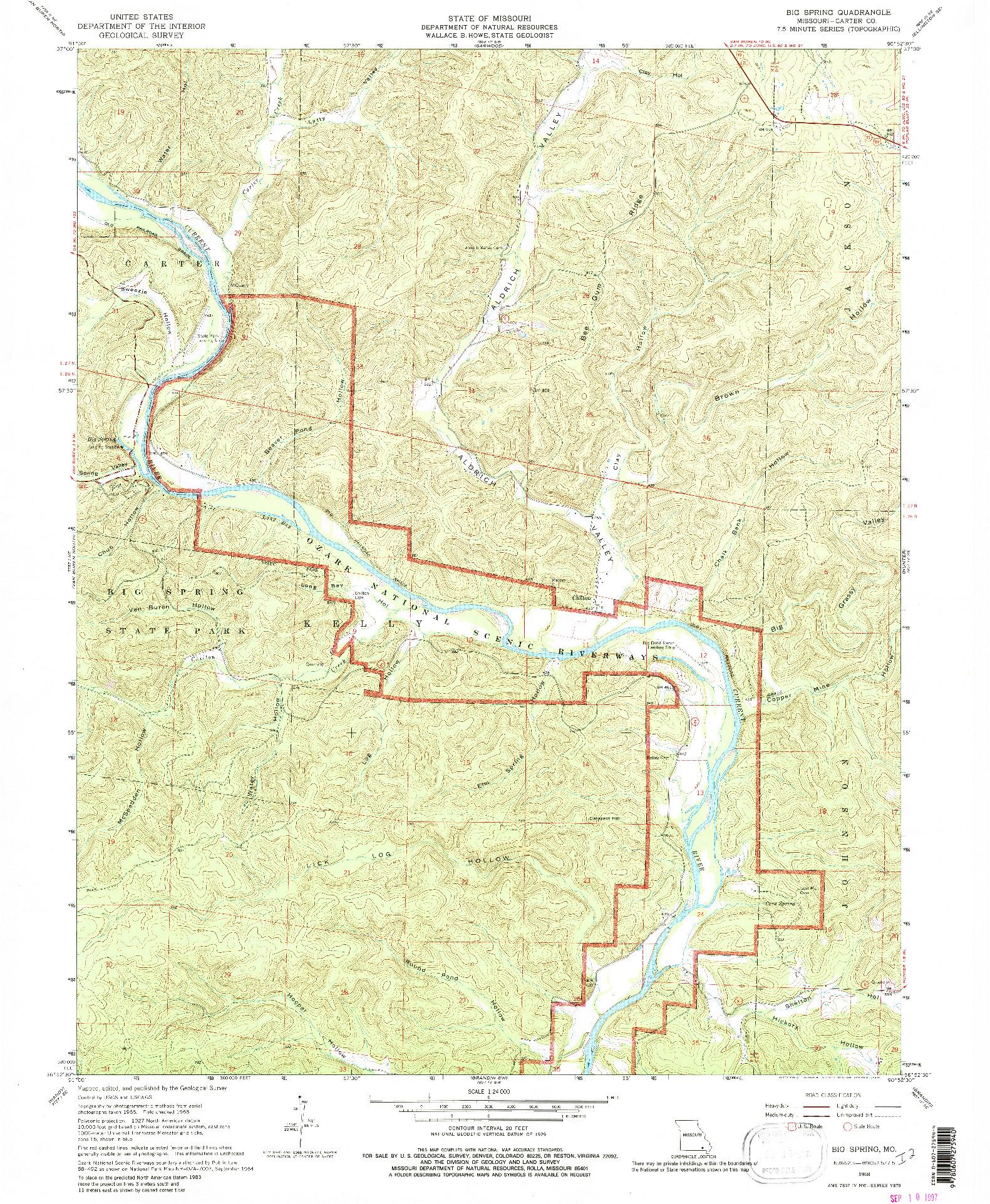 USGS 1:24000-SCALE QUADRANGLE FOR BIG SPRING, MO 1968