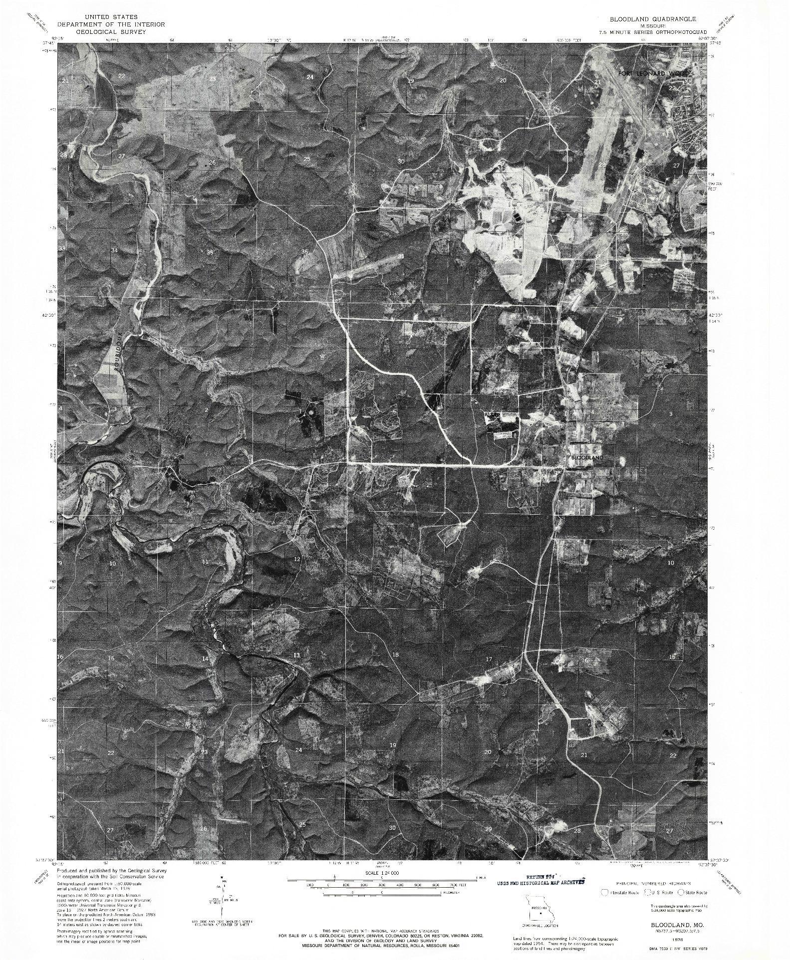 USGS 1:24000-SCALE QUADRANGLE FOR BLOODLAND, MO 1976