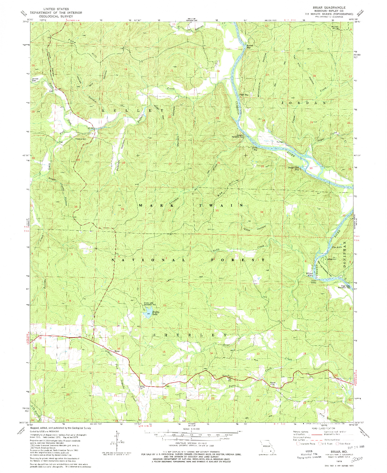 USGS 1:24000-SCALE QUADRANGLE FOR BRIAR, MO 1979