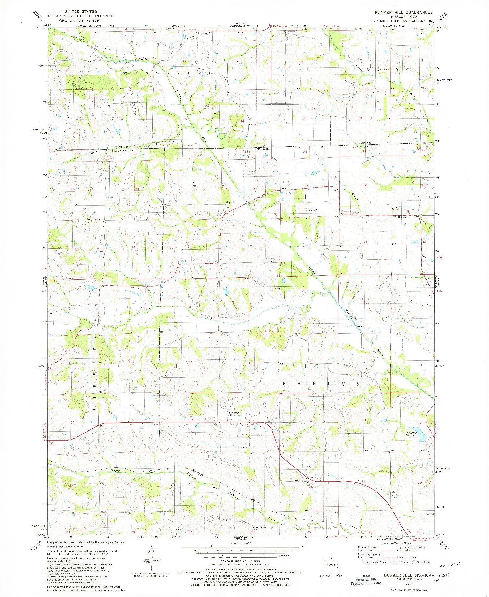 USGS 1:24000-SCALE QUADRANGLE FOR BUNKER HILL, MO 1980