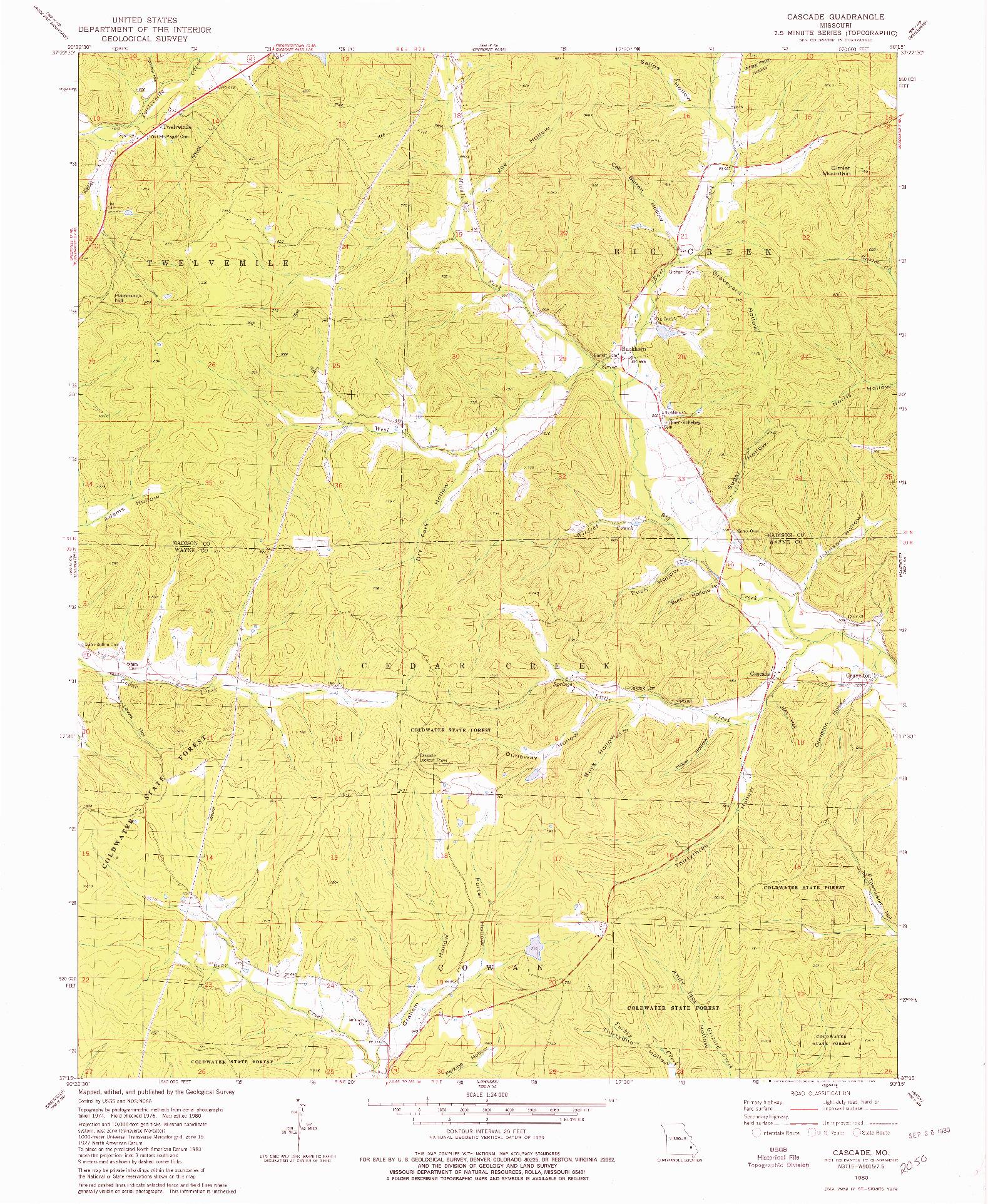 USGS 1:24000-SCALE QUADRANGLE FOR CASCADE, MO 1980