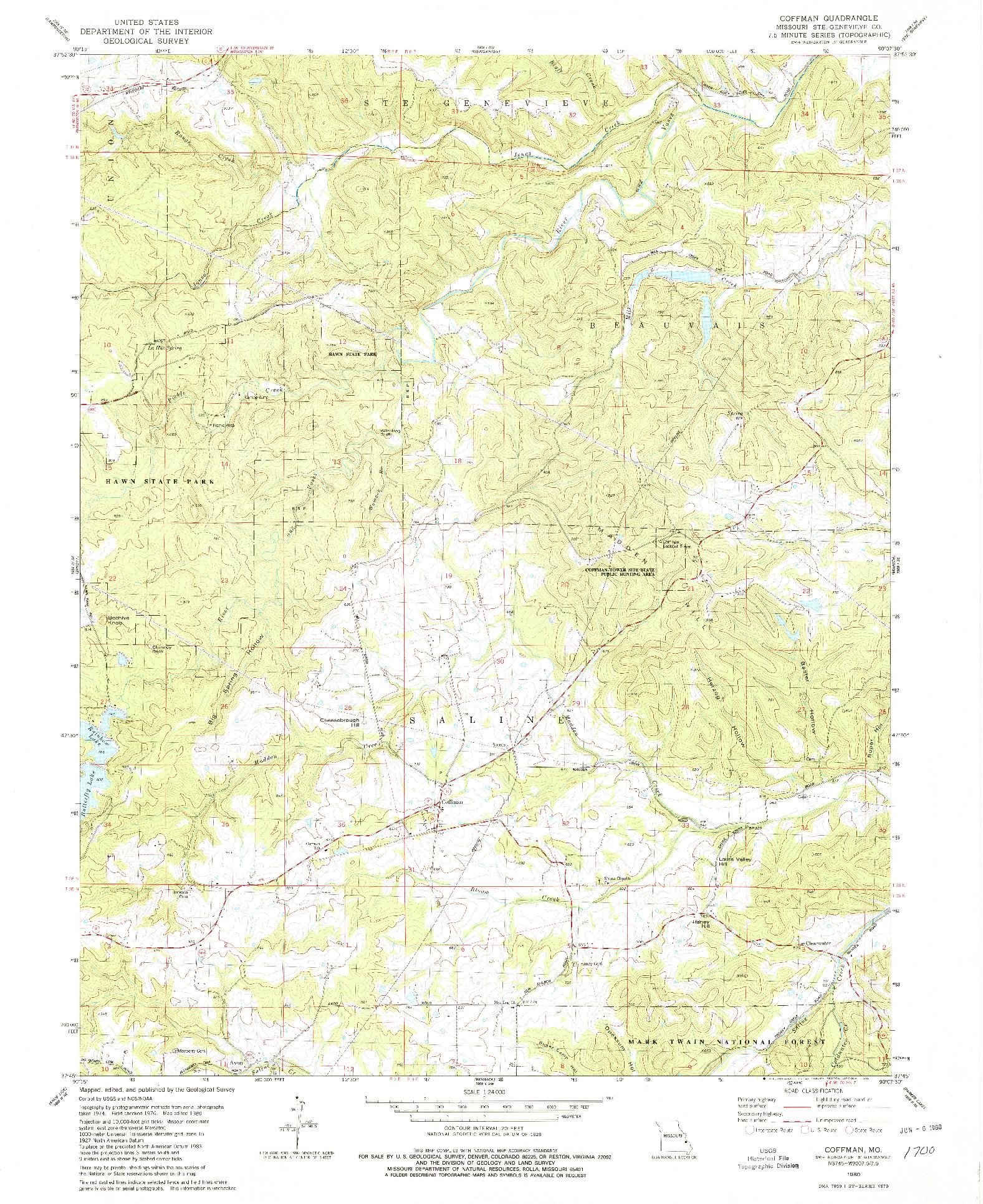 USGS 1:24000-SCALE QUADRANGLE FOR COFFMAN, MO 1980